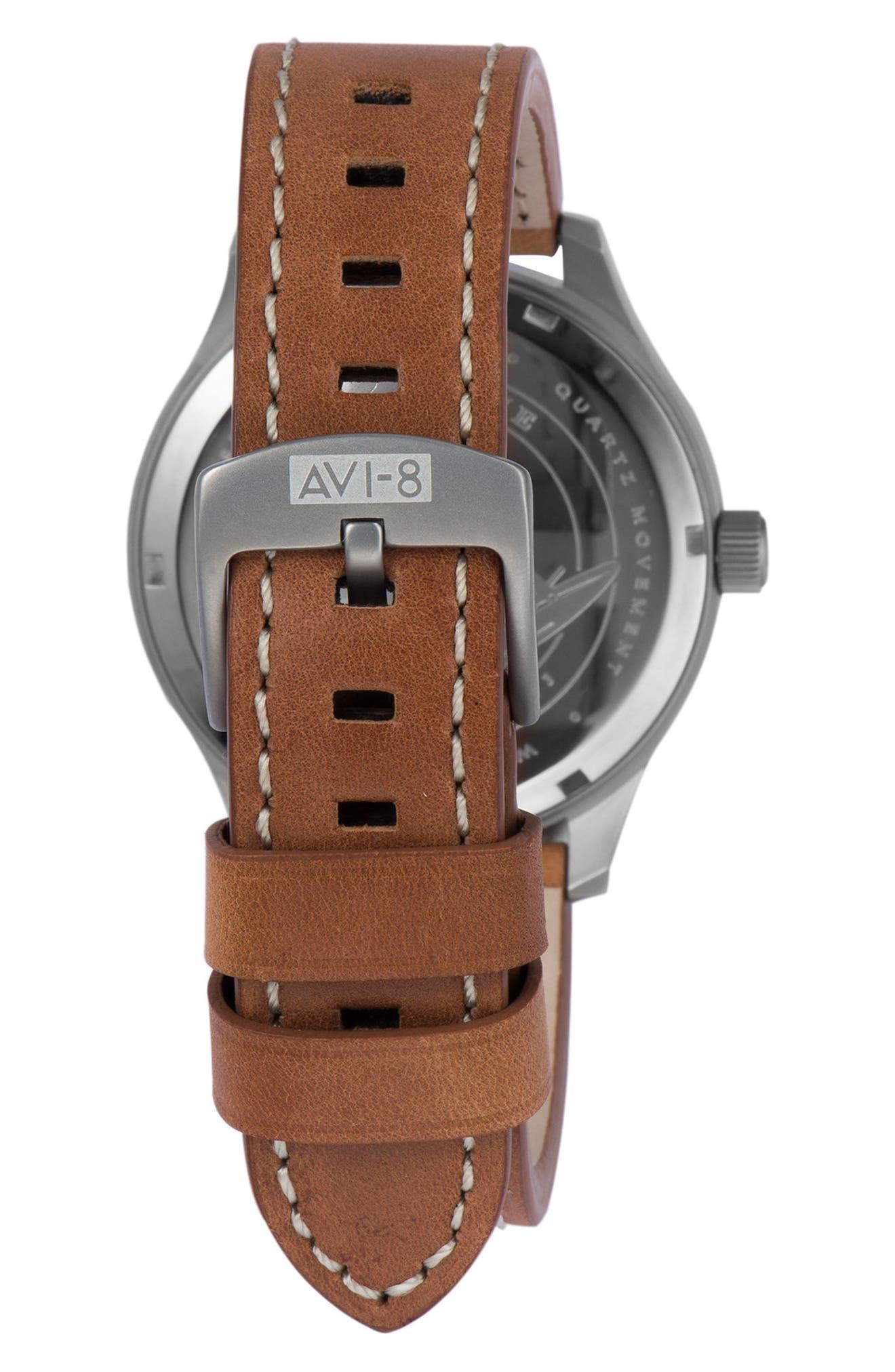 Alternate Image 2  - AVI-8 Hawker Hurricane Leather Strap Watch, 43mm