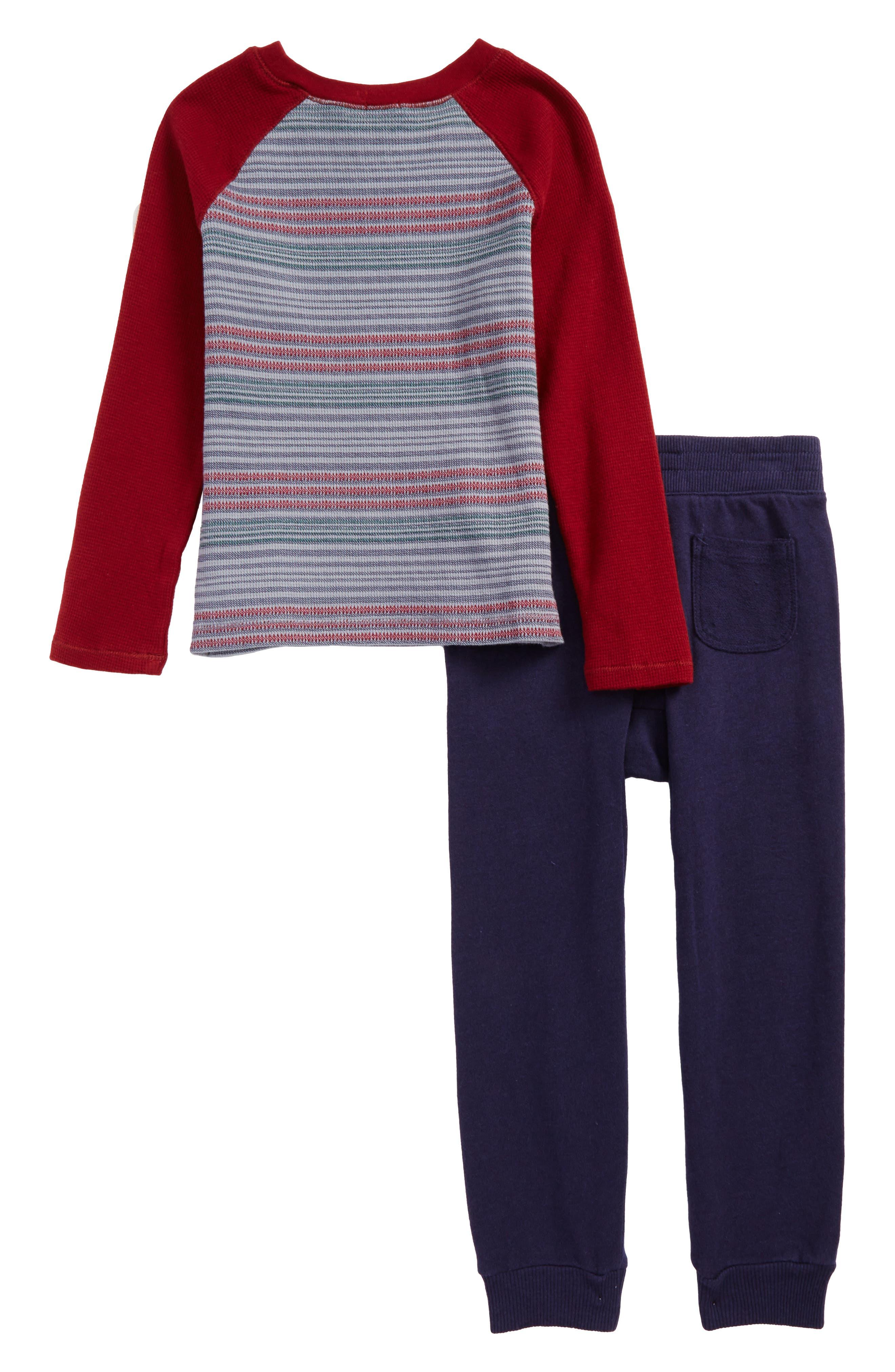 Stripe Thermal T-Shirt & Sweatpants Set,                             Alternate thumbnail 2, color,                             Burgundy