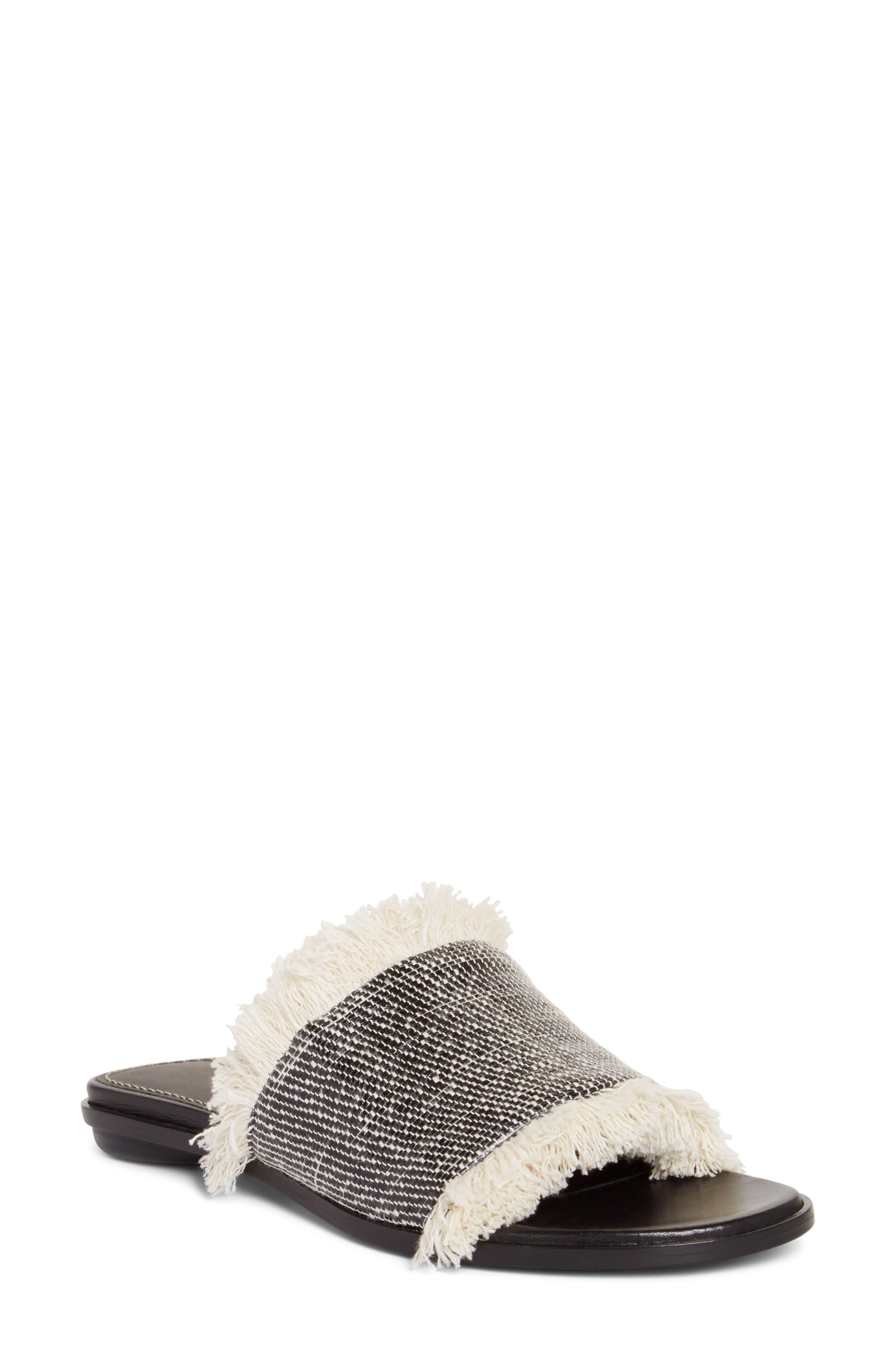 Fringe Slide Sandal,                         Main,                         color, Black/ Natural