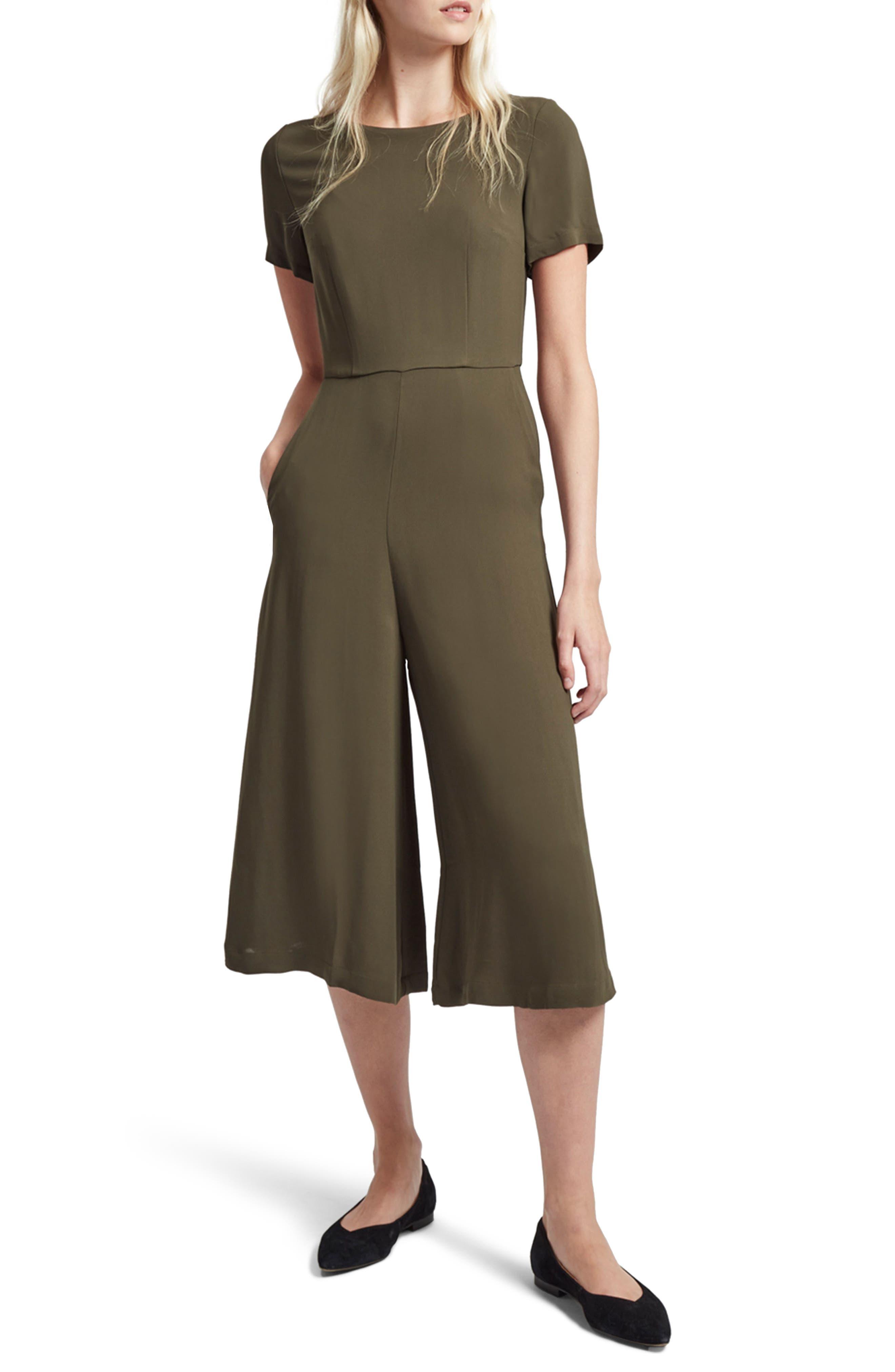 Esther Crepe Jumpsuit,                         Main,                         color, Dusty Olive