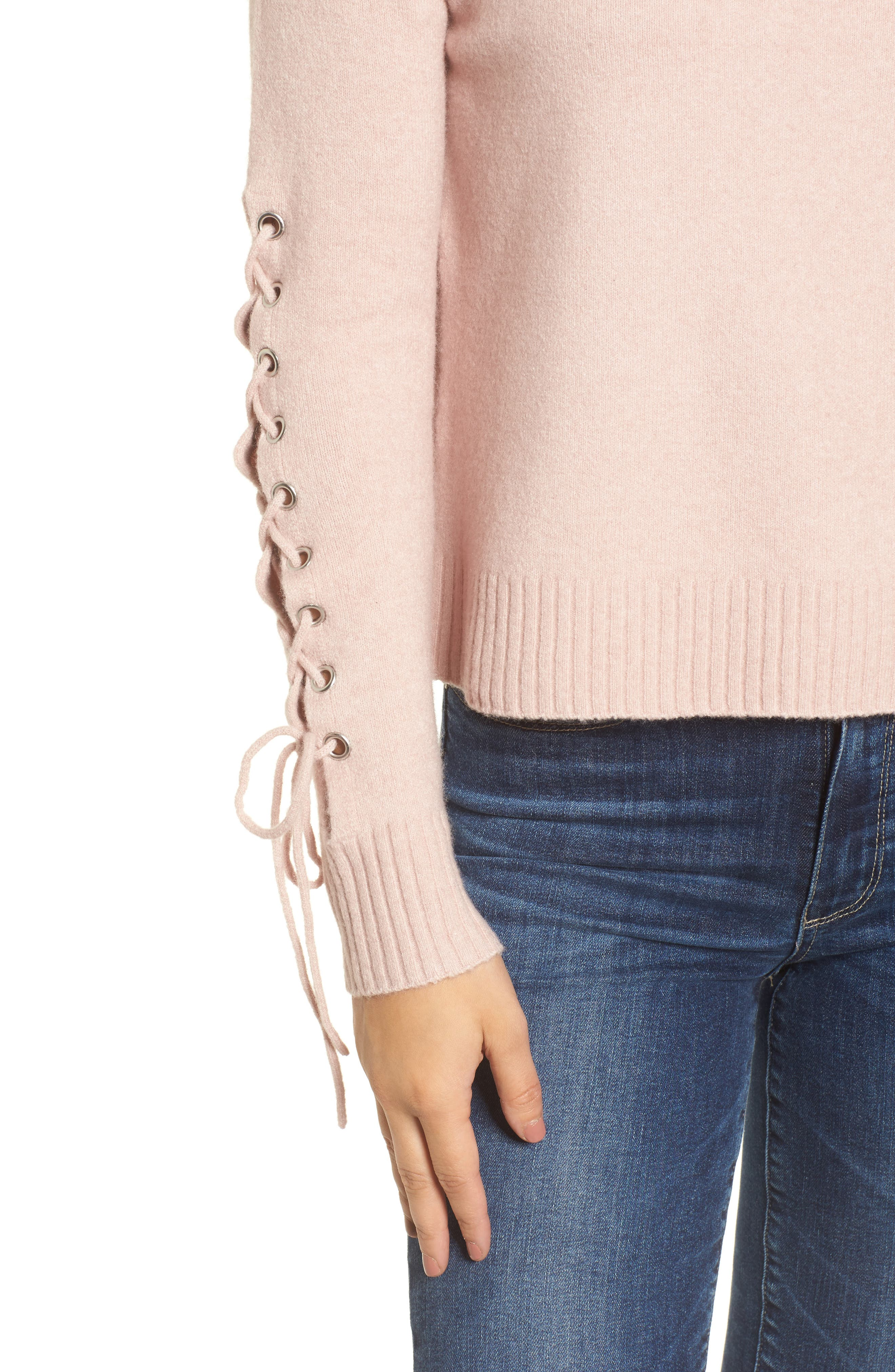 Lace-Up Sleeve Sweater,                             Alternate thumbnail 4, color,                             Pink Adobe