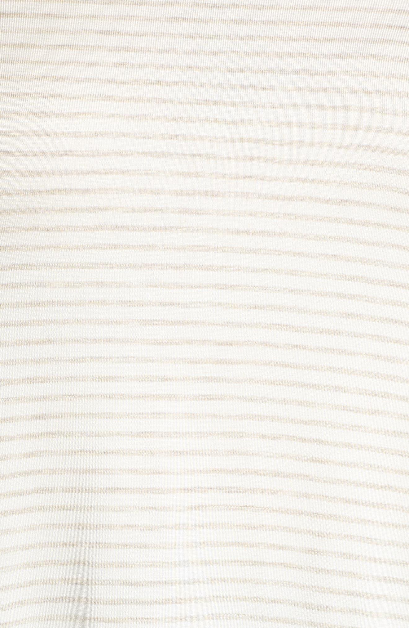 Ruffle Cuff Stripe Top,                             Alternate thumbnail 5, color,                             Oatmeal/ Ivory