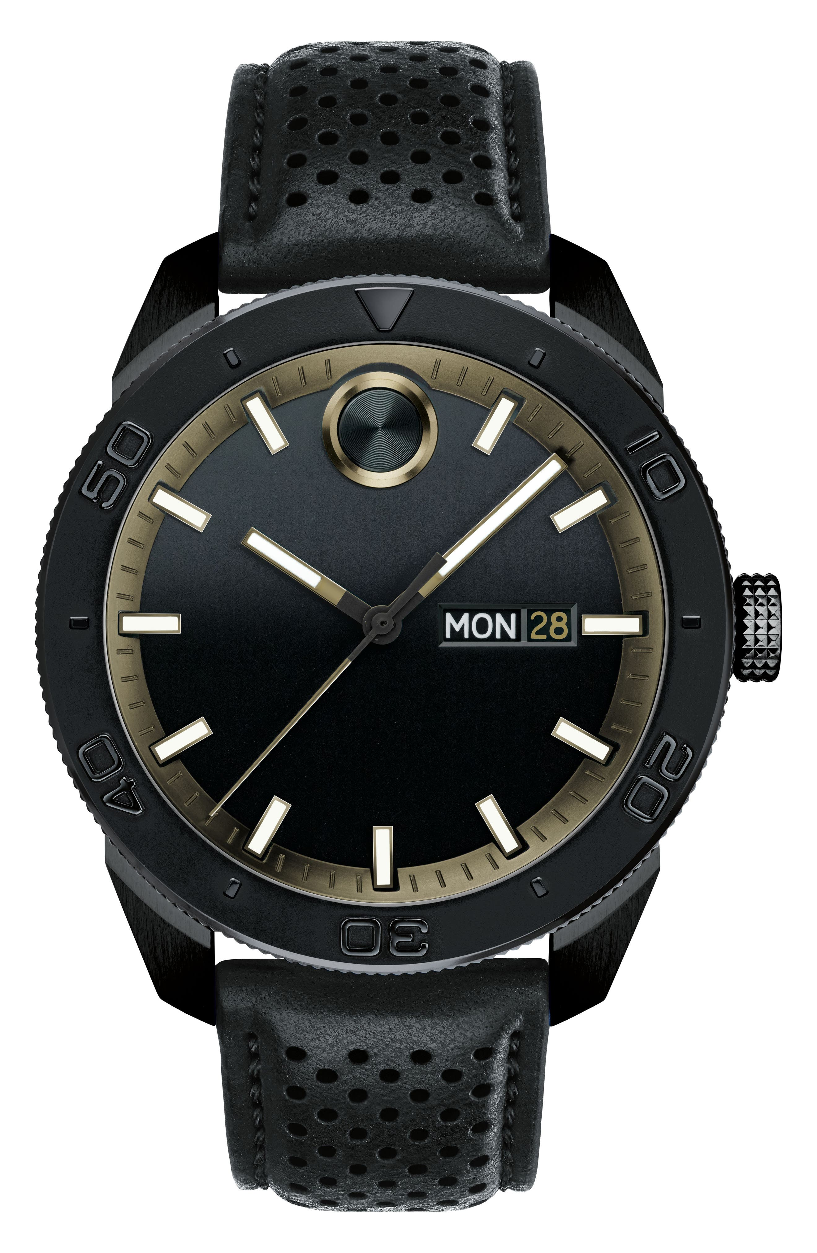 Bold Metals Sport Leather Strap Watch, 43mm,                         Main,                         color, Black