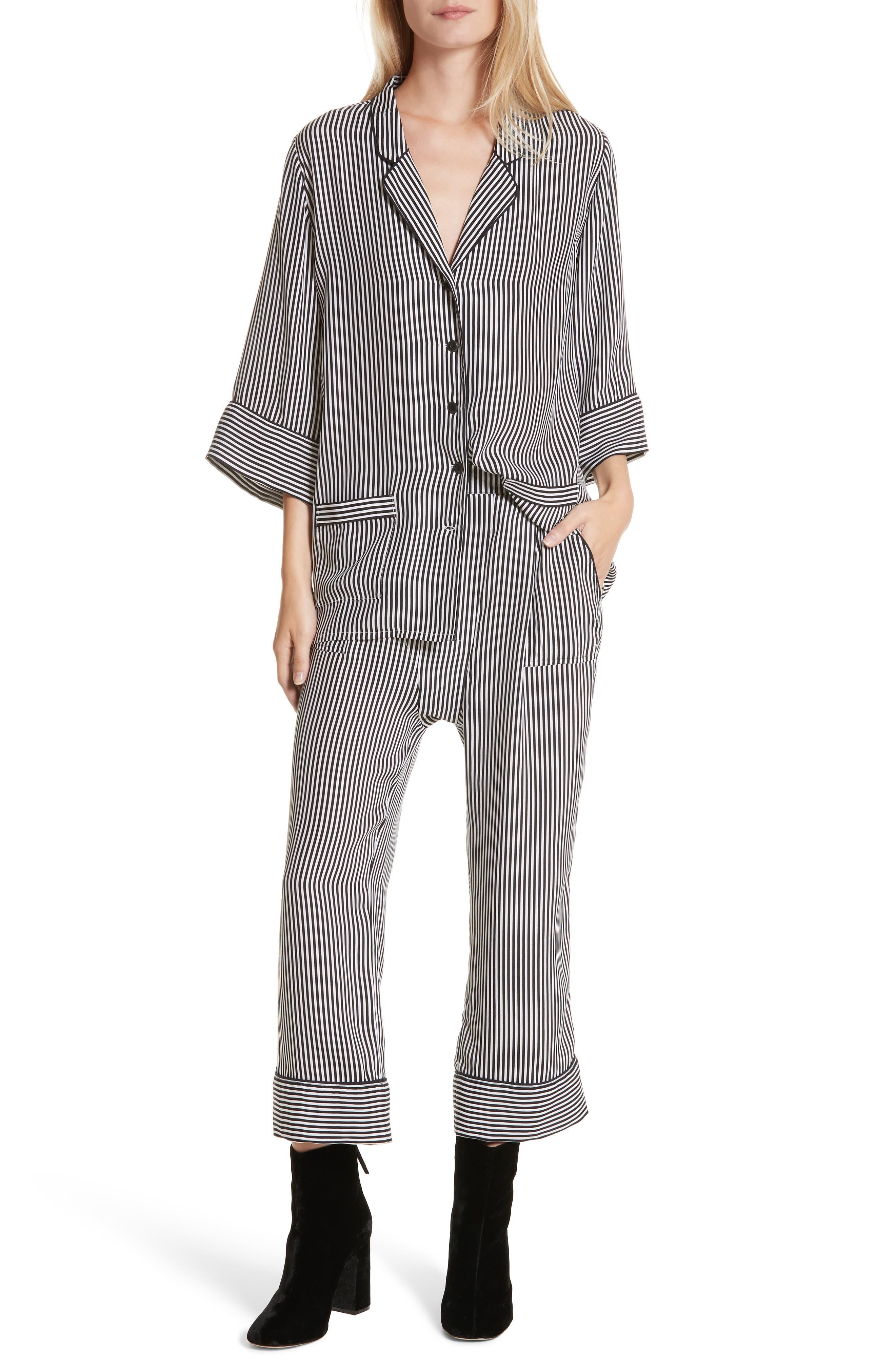 Pencil Stripe Silk Pajama Trousers,                             Alternate thumbnail 4, color,                             Pencil Stripe