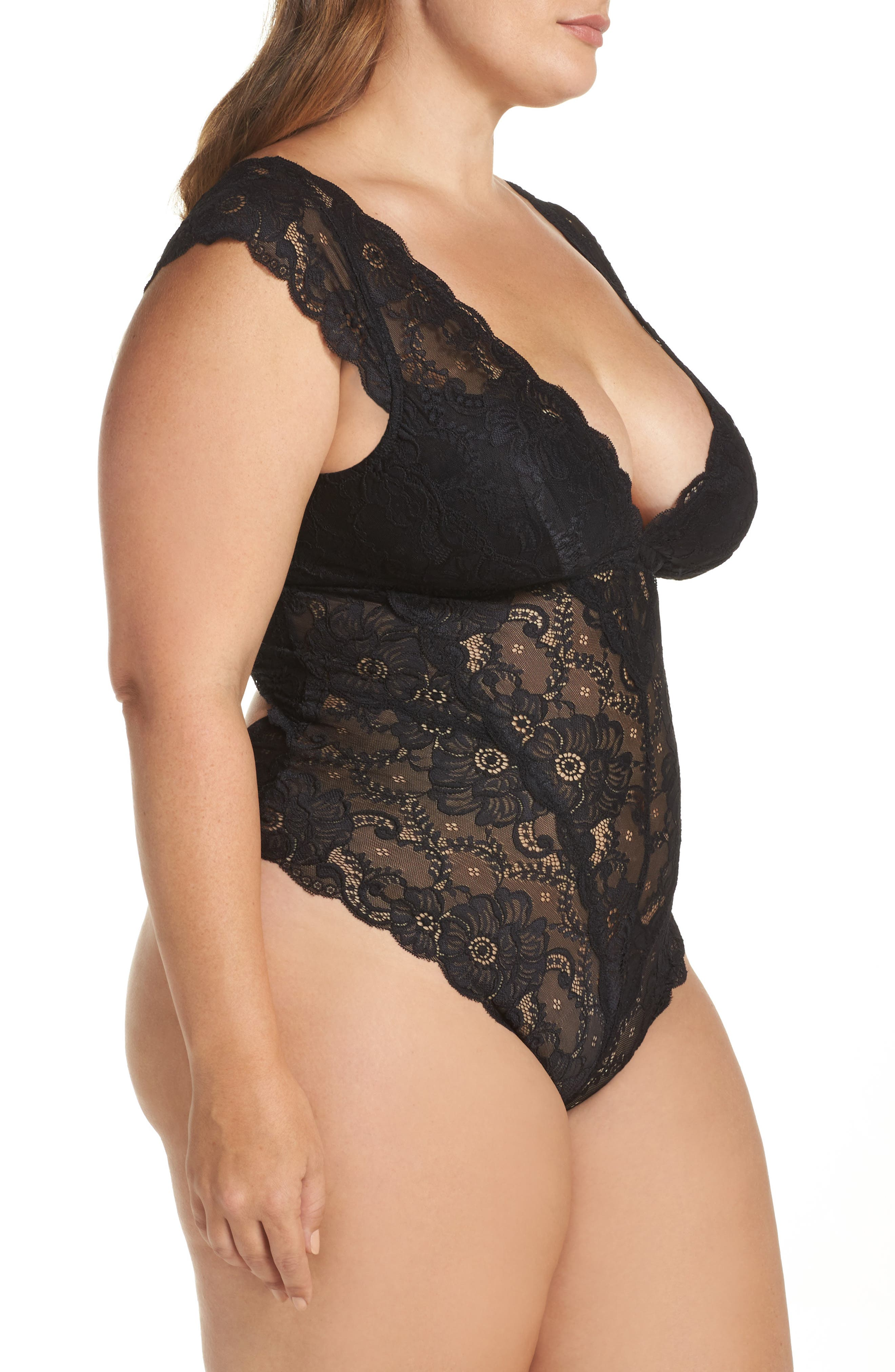 Suzette Lace Teddy,                             Alternate thumbnail 3, color,                             Black