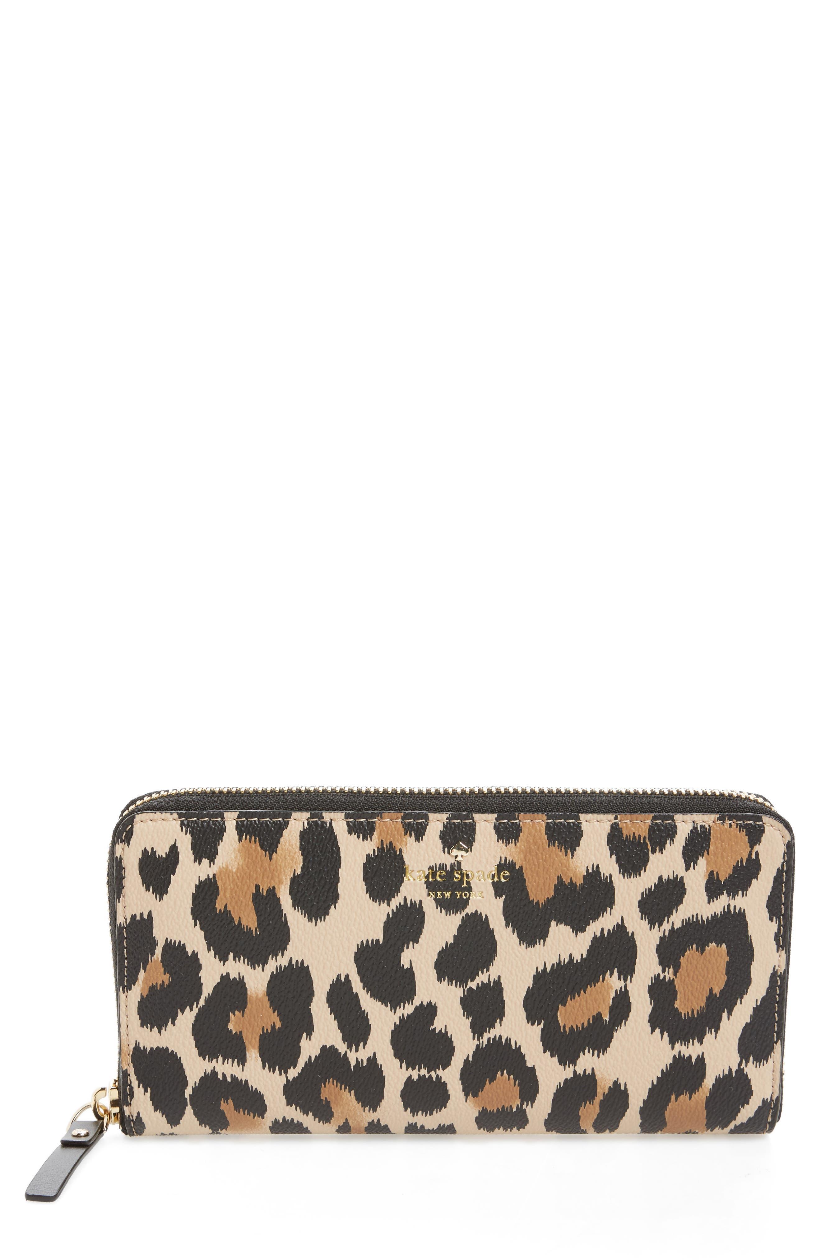 kate spade new york hyde lane leopard - michele wallet