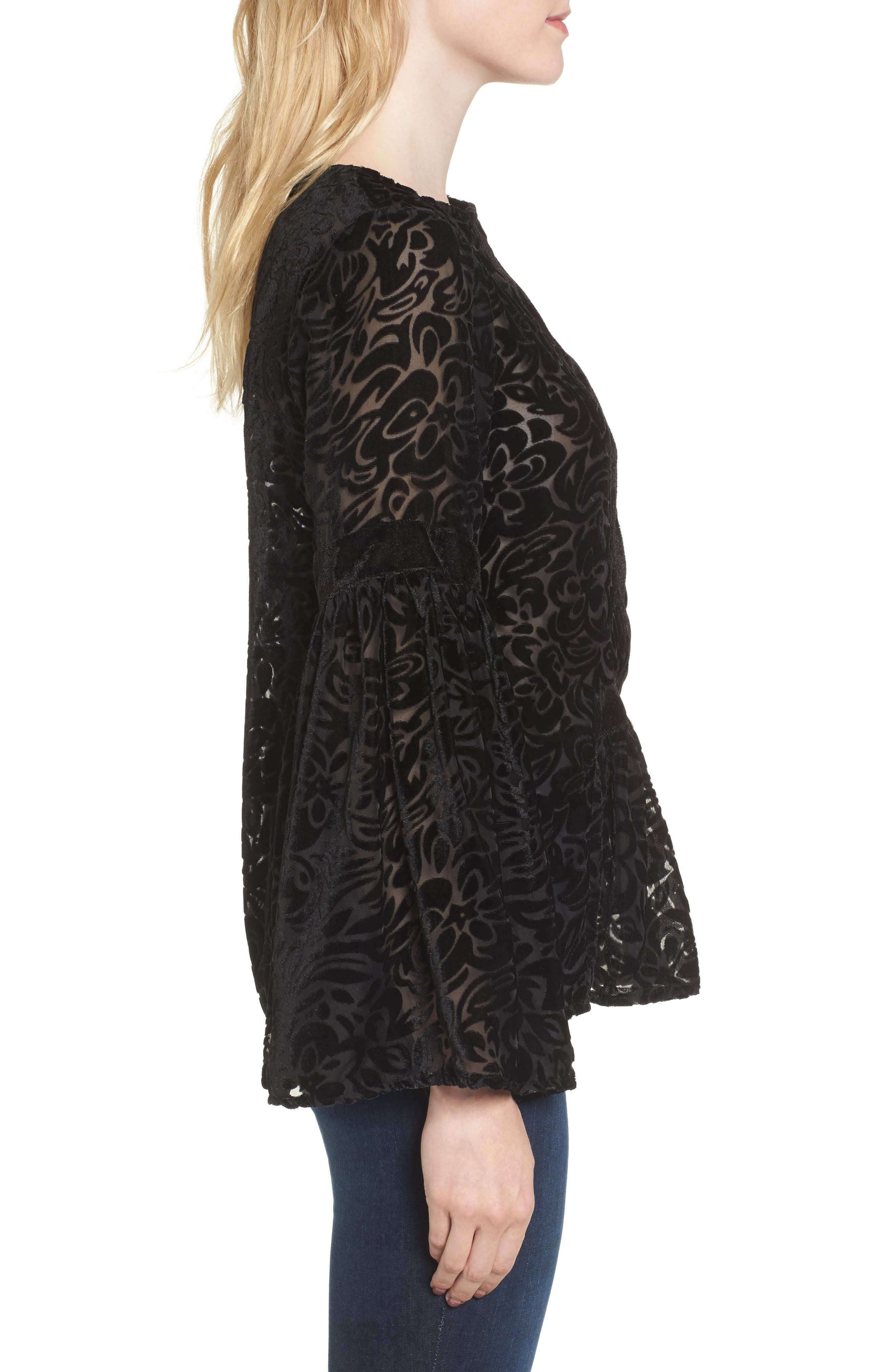 Alternate Image 3  - KAS NEW YORK Velvet Burnout Bell Sleeve Peasant Top