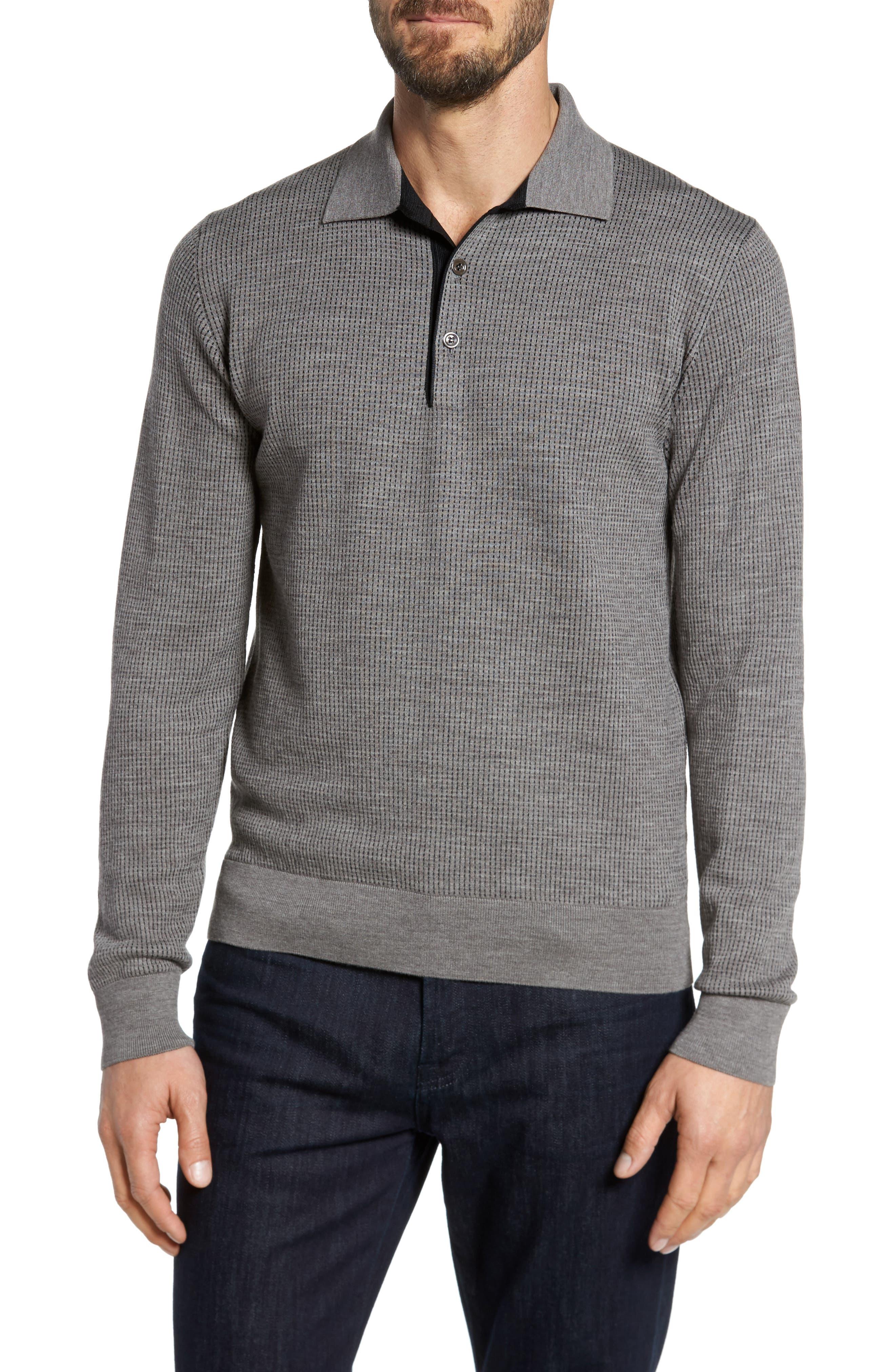 Main Image - Luciano Barbera Grey Needlepoint Wool & Silk Polo Sweater