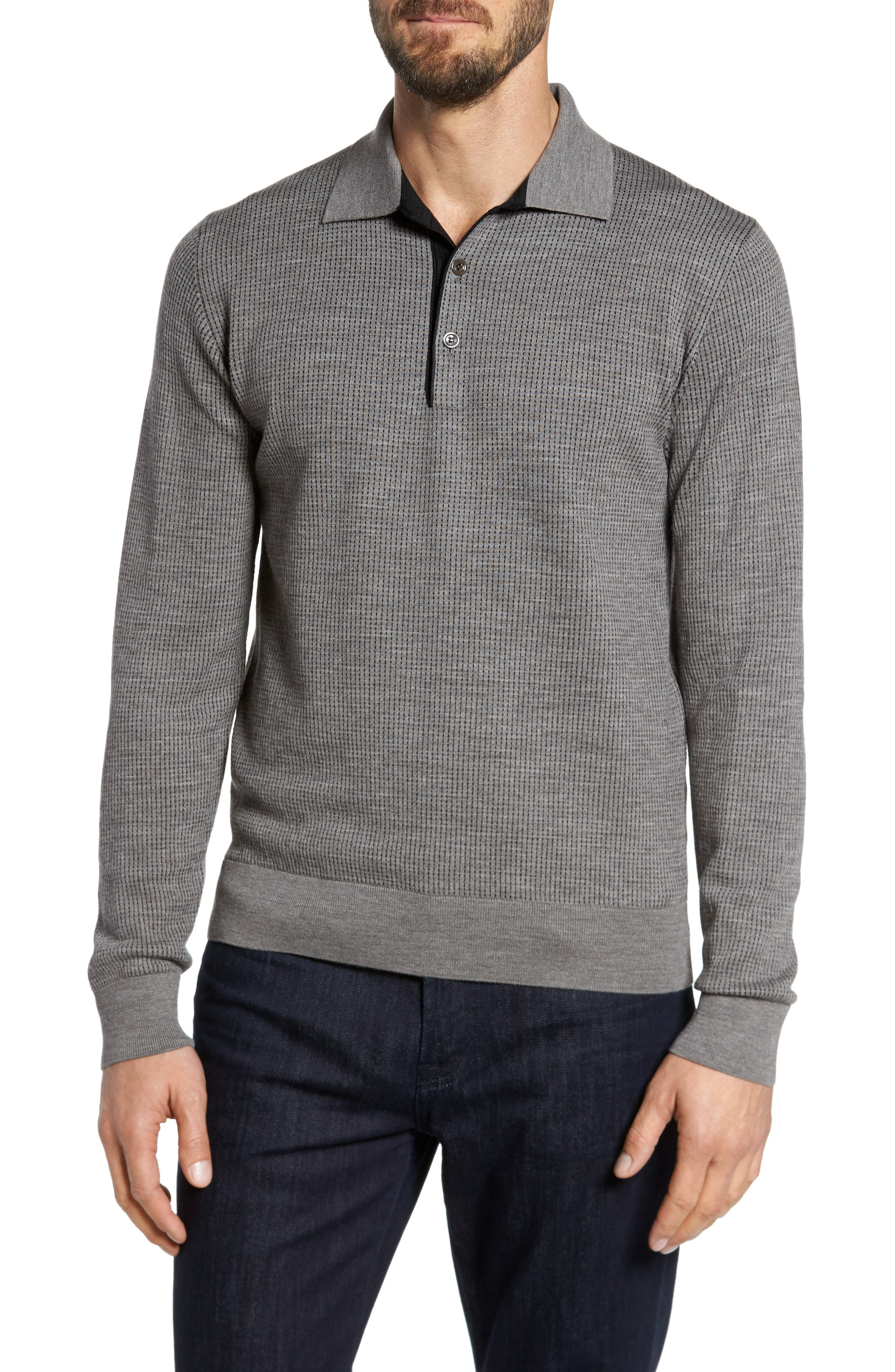 Grey Needlepoint Wool & Silk Polo Sweater,                         Main,                         color, Grey