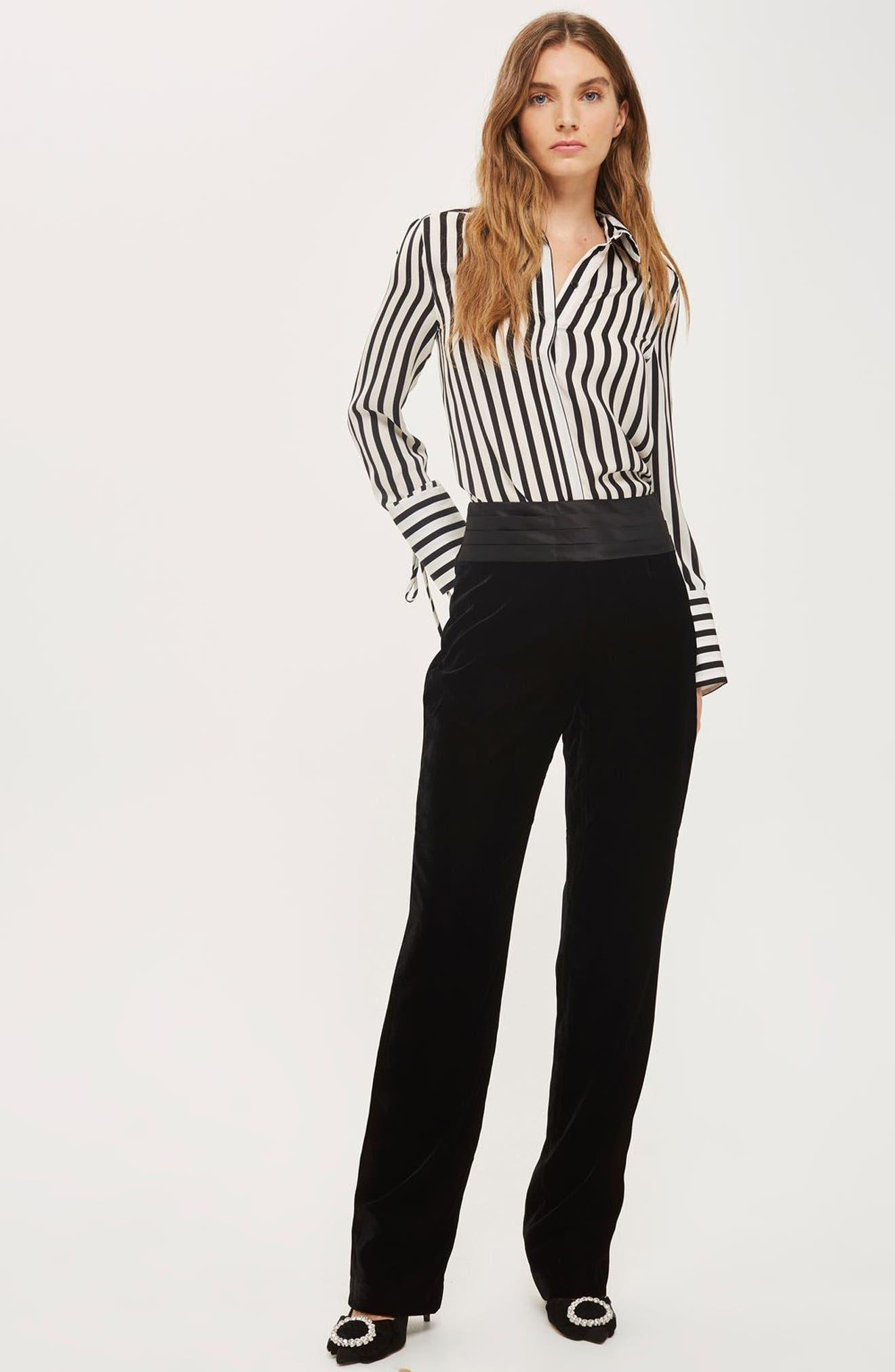 Alternate Image 2  - Topshop Tie Cuff Stripe Shirt