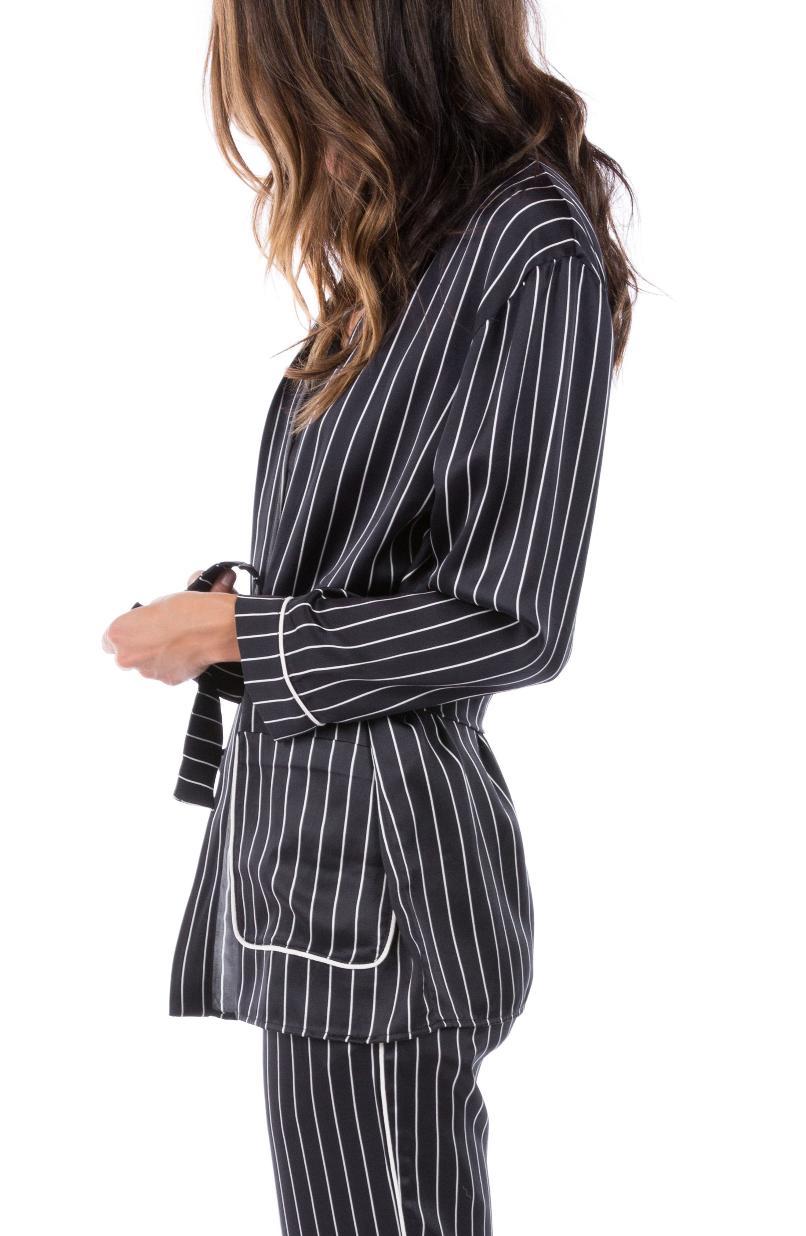 Alternate Image 3  - Ragdoll Pinstripe Silk Pajama Top