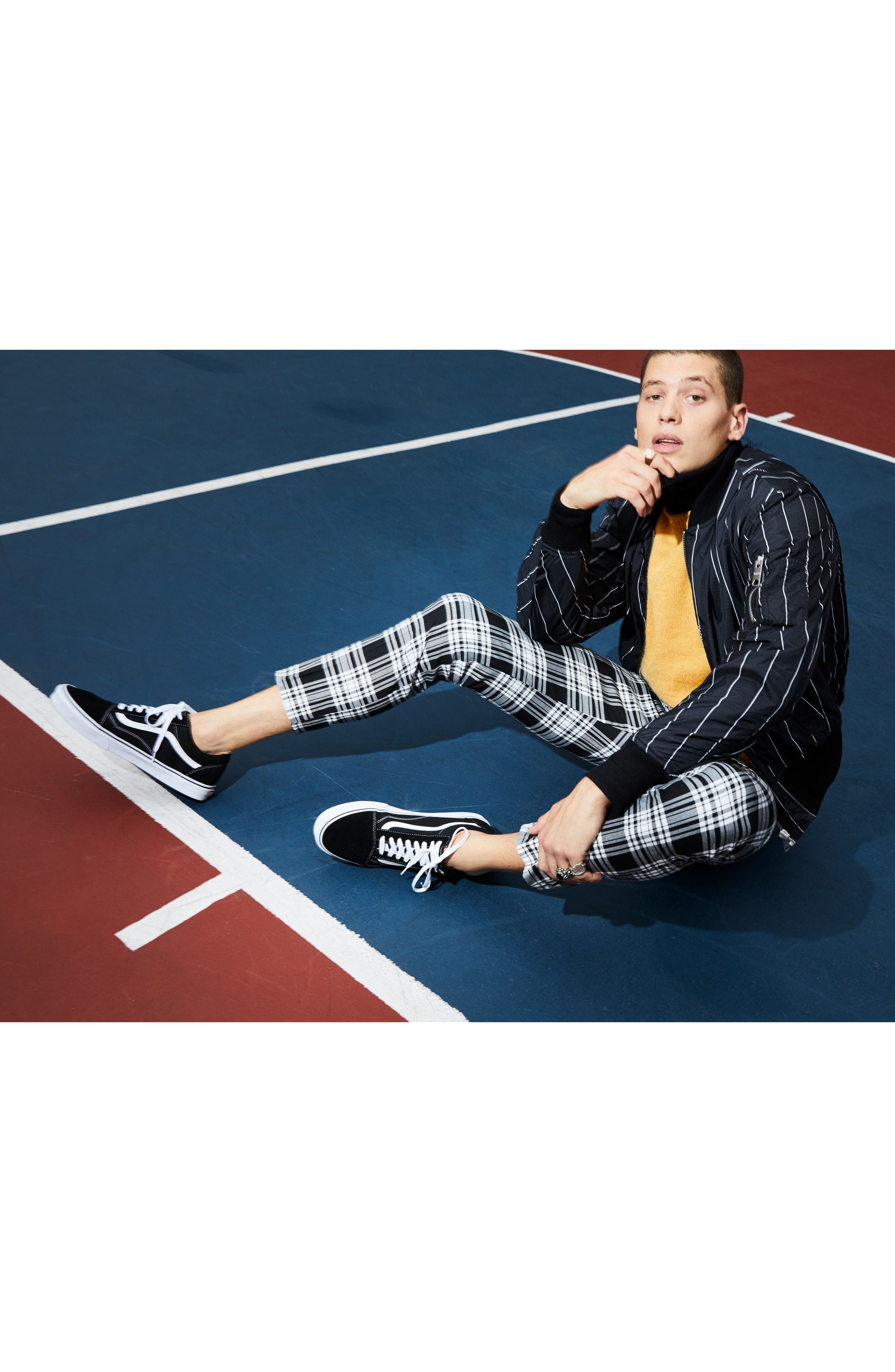 Plaid Ultra Skinny Fit Crop Trousers,                             Alternate thumbnail 2, color,