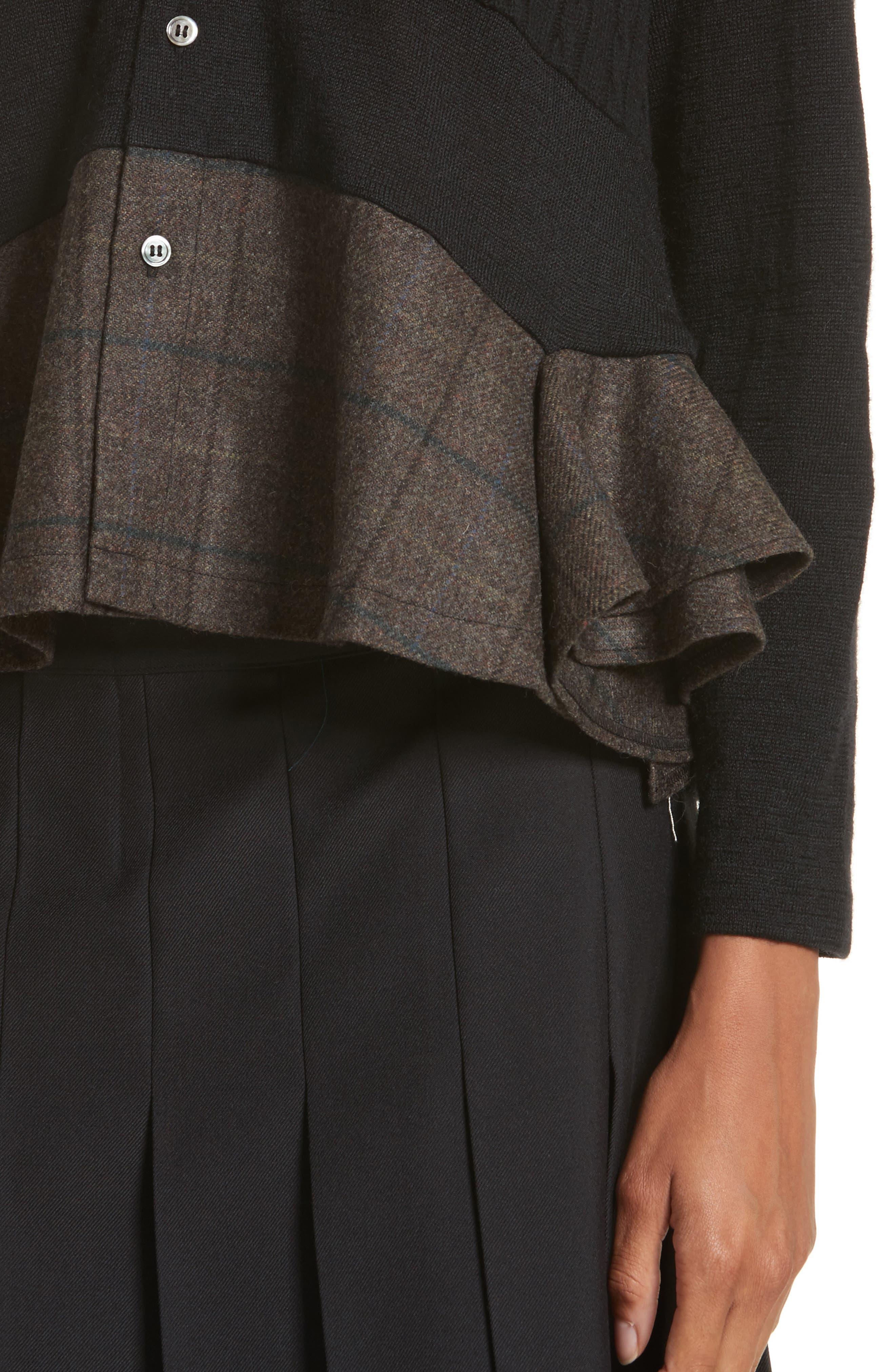 Mixed Media Button Cardigan,                             Alternate thumbnail 4, color,                             Black