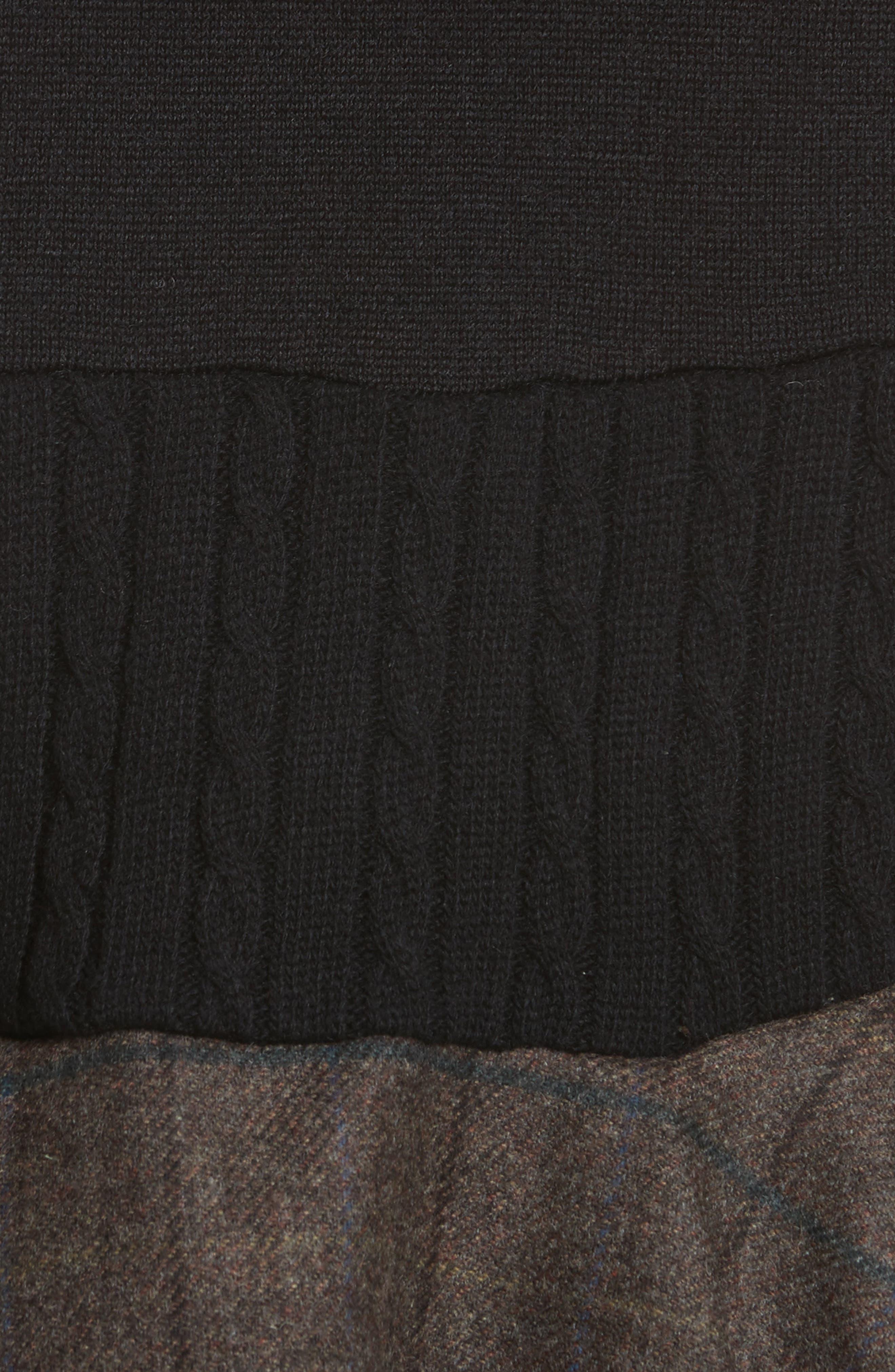 Mixed Media Button Cardigan,                             Alternate thumbnail 5, color,                             Black
