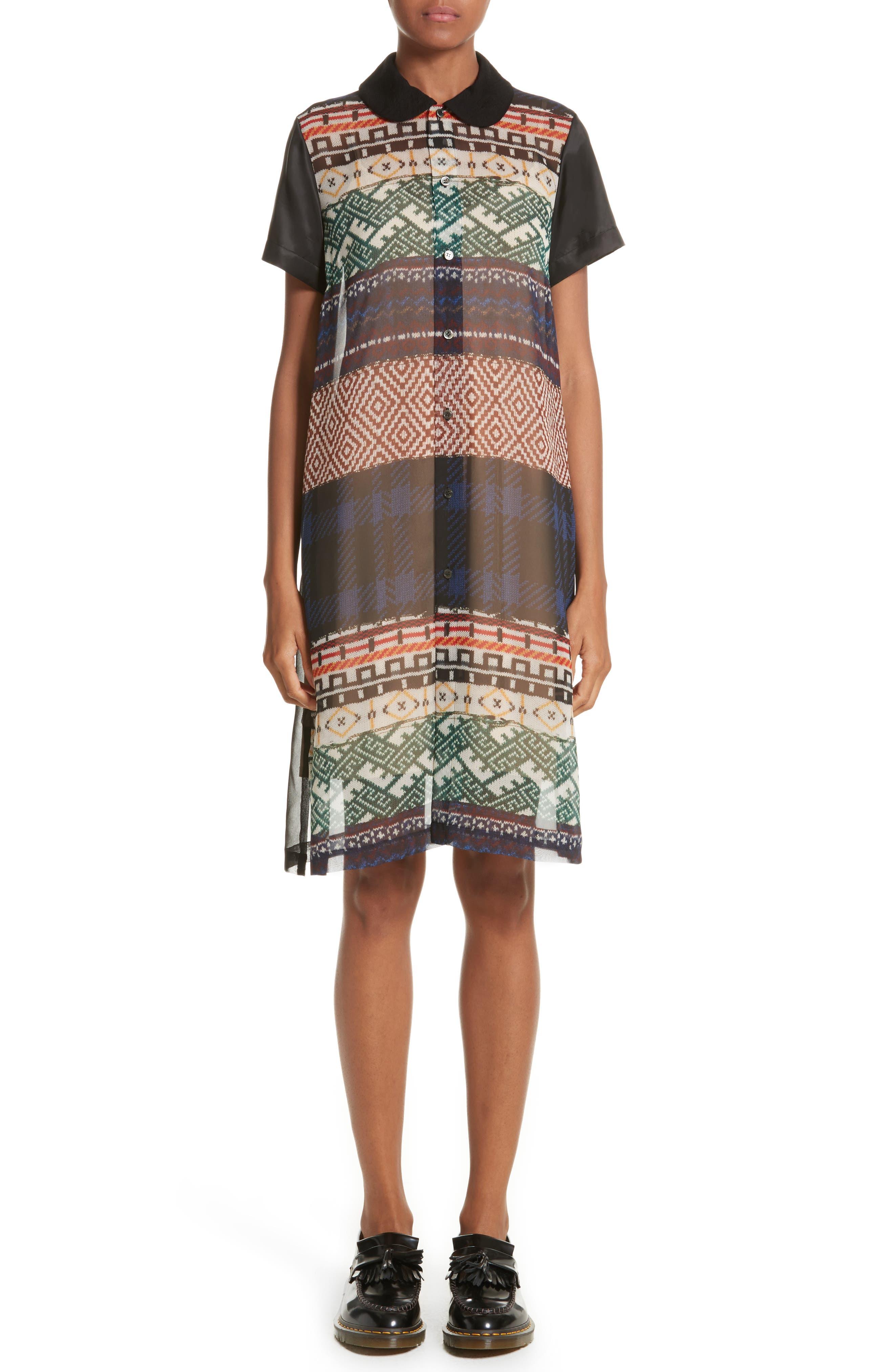 Mixed Print Short Sleeve Dress,                         Main,                         color, A Pattern X Black