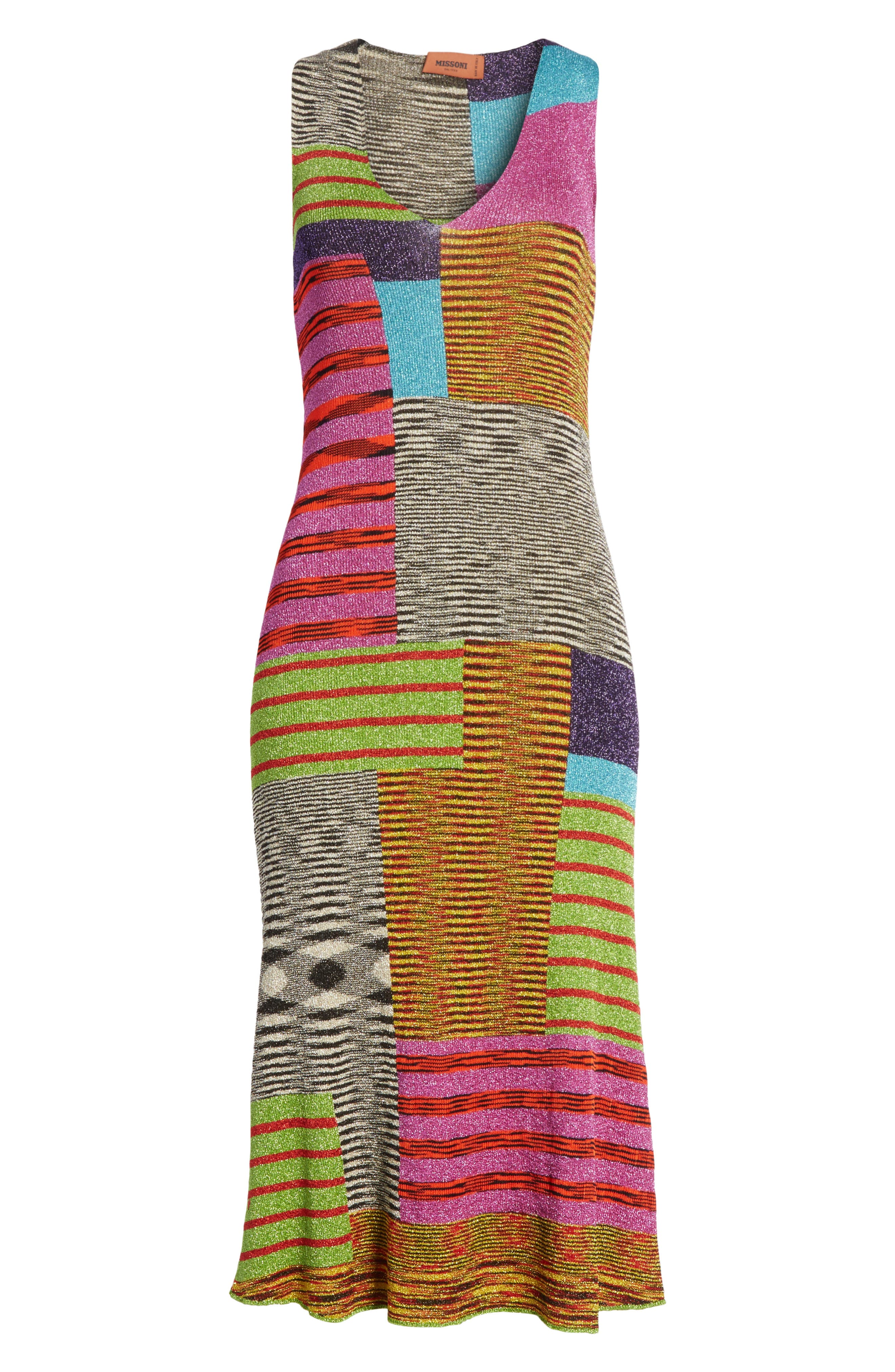 Metallic Patchwork Stripe Knit Dress,                             Alternate thumbnail 6, color,                             Multi