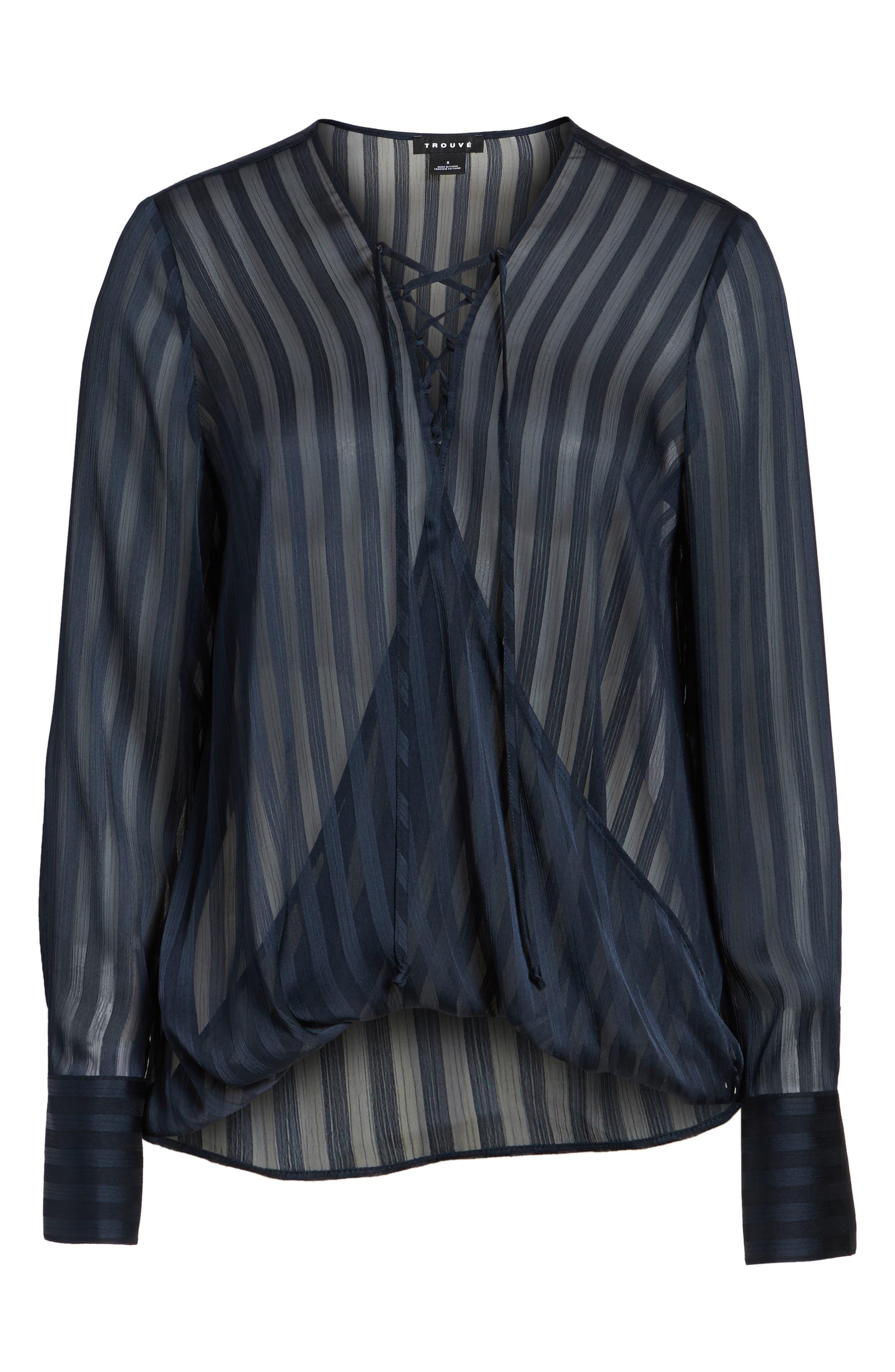 Alternate Image 6  - Trouvé Sheer Shadow Stripe Top