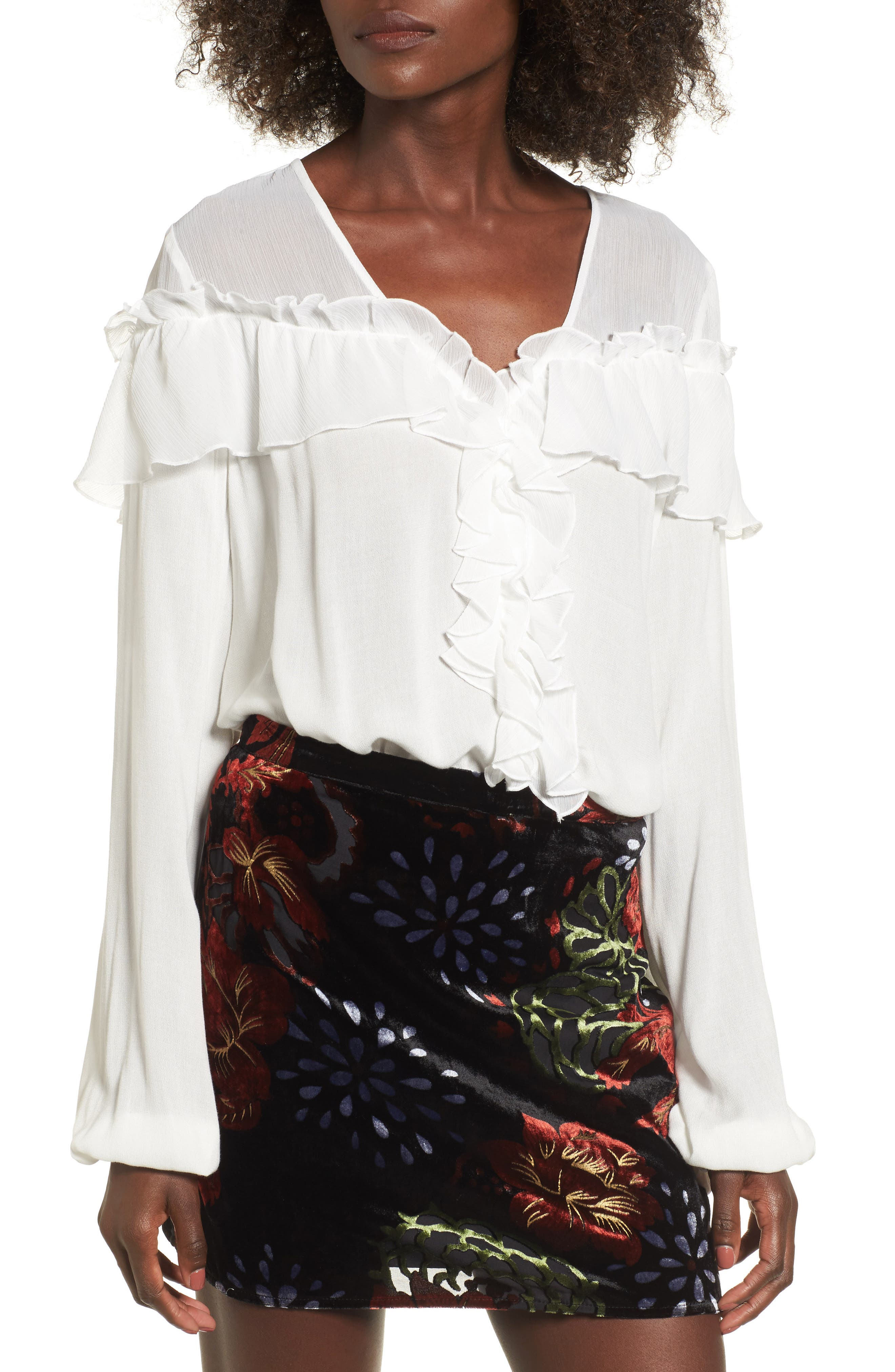 Crepe Ruffle Blouse,                         Main,                         color, Ivory