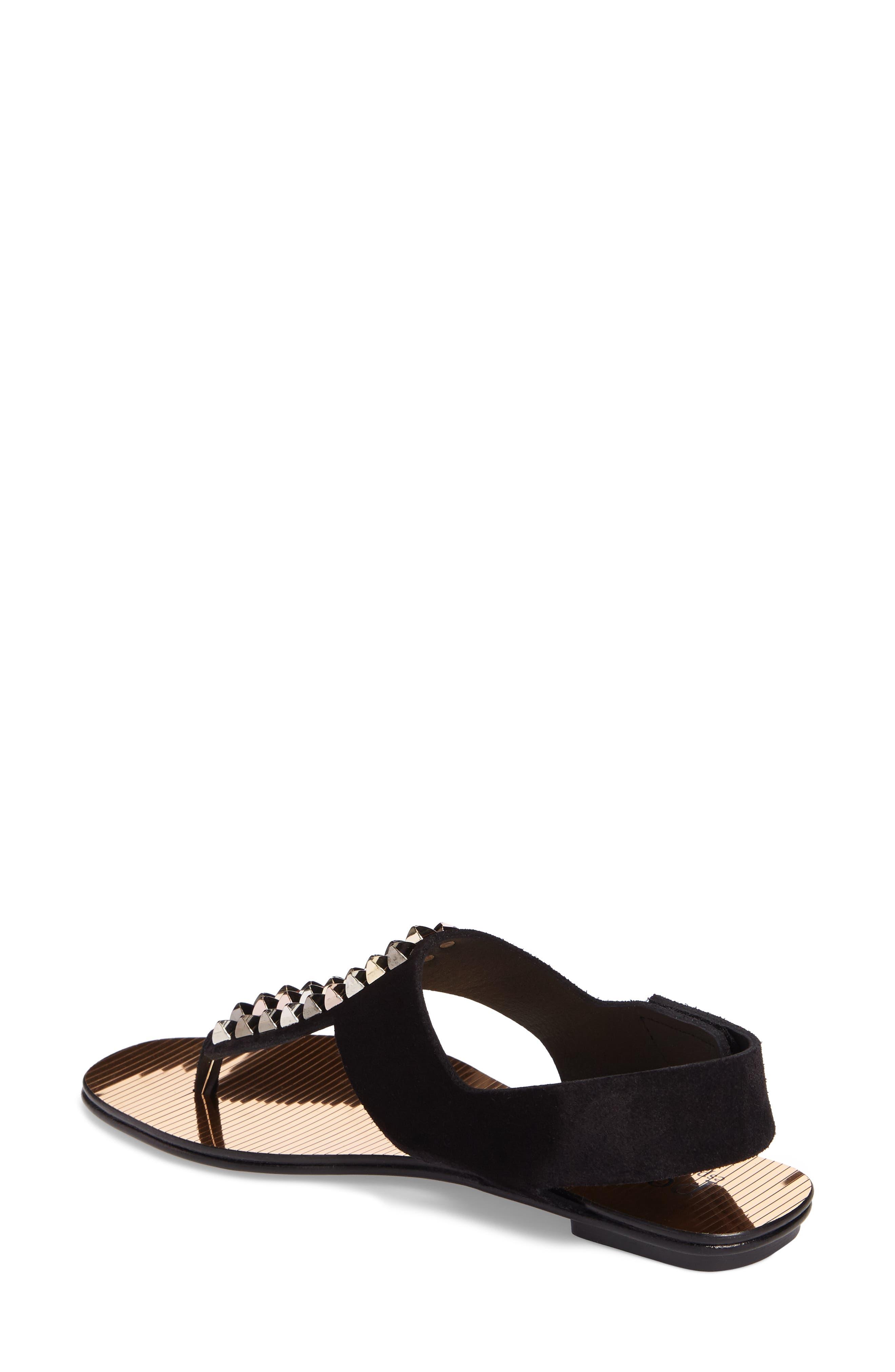 Enid Studded T-Strap Sandal,                             Alternate thumbnail 2, color,                             Black Castoro/ Gold