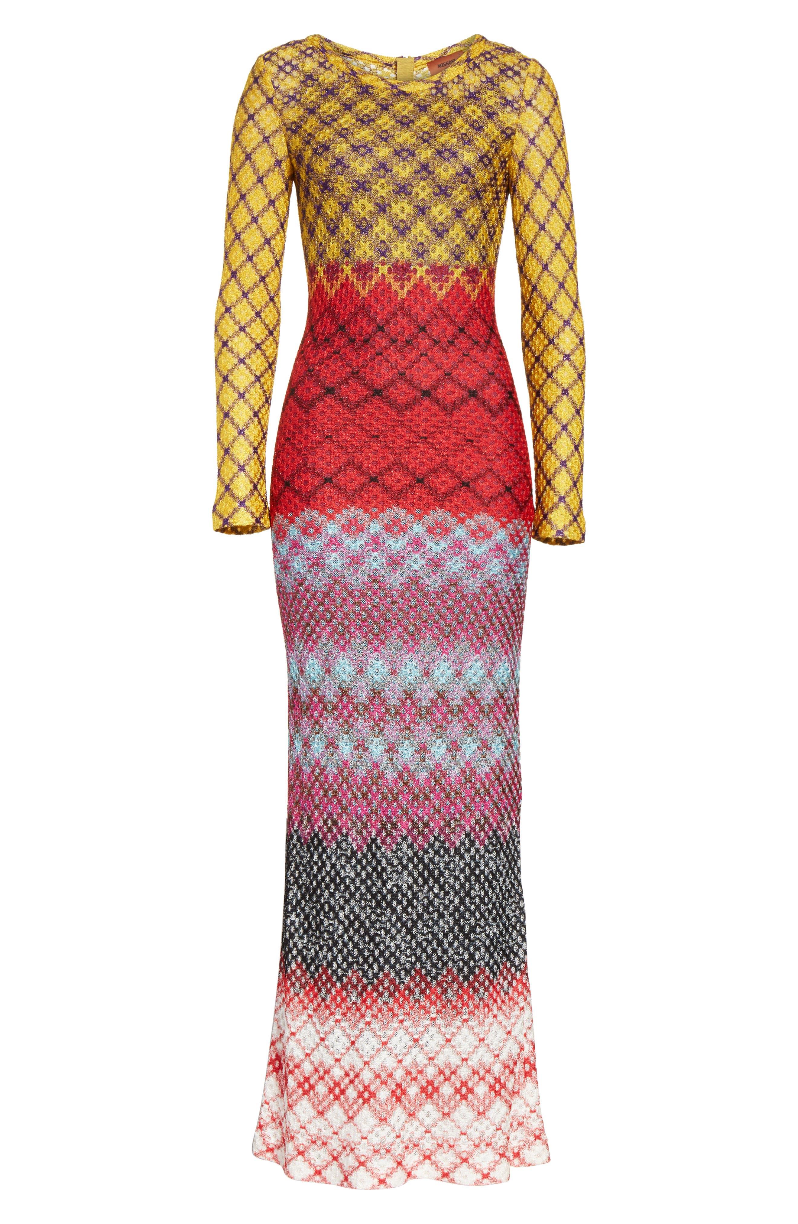 Metallic Knit Maxi Dress,                             Alternate thumbnail 6, color,                             Multi
