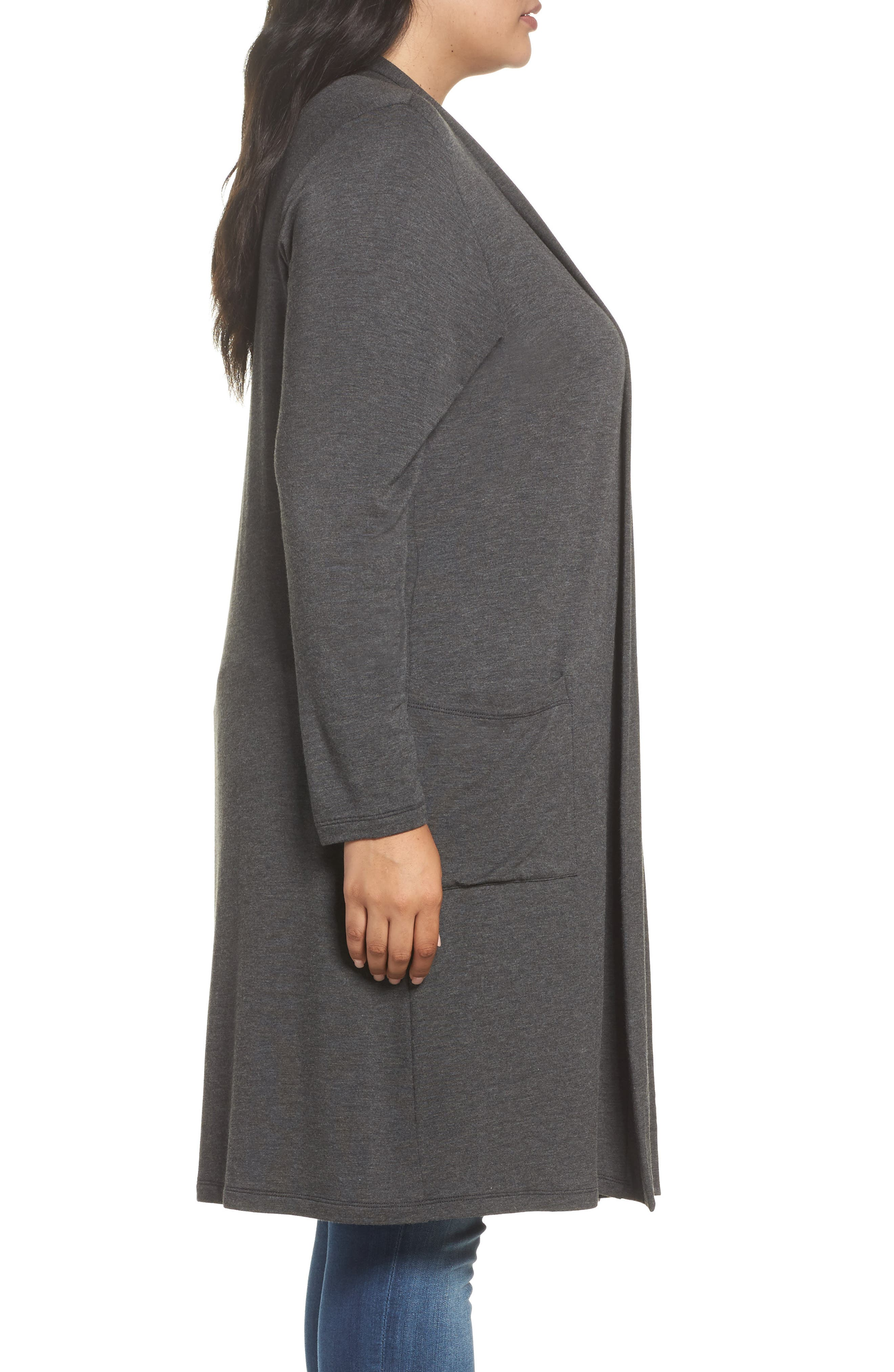 Two-Pocket Stretch Cardigan,                             Alternate thumbnail 3, color,                             Heather Charcoal