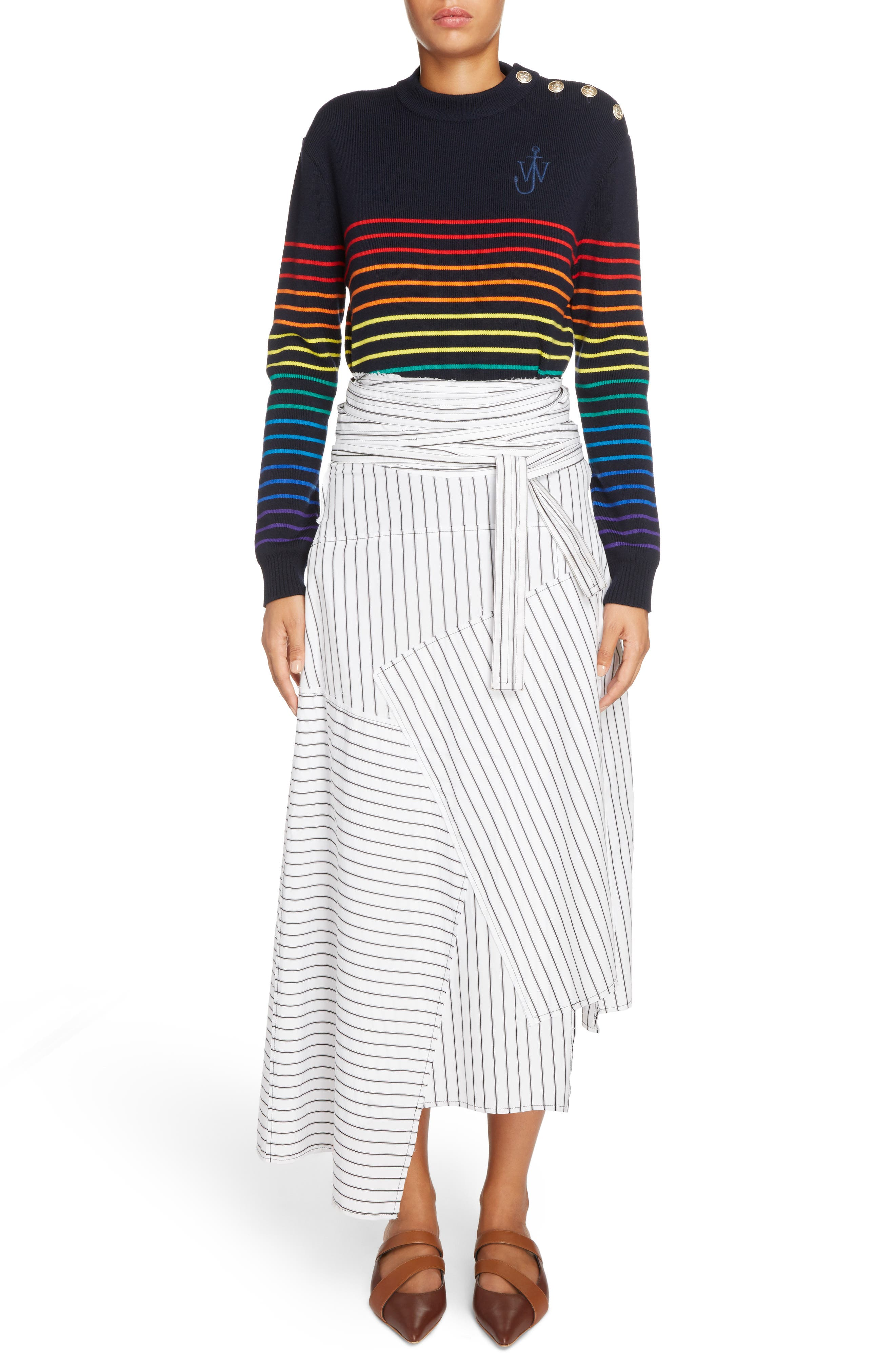 Patchwork Pinstripe Wrap Skirt,                             Alternate thumbnail 2, color,                             Off White