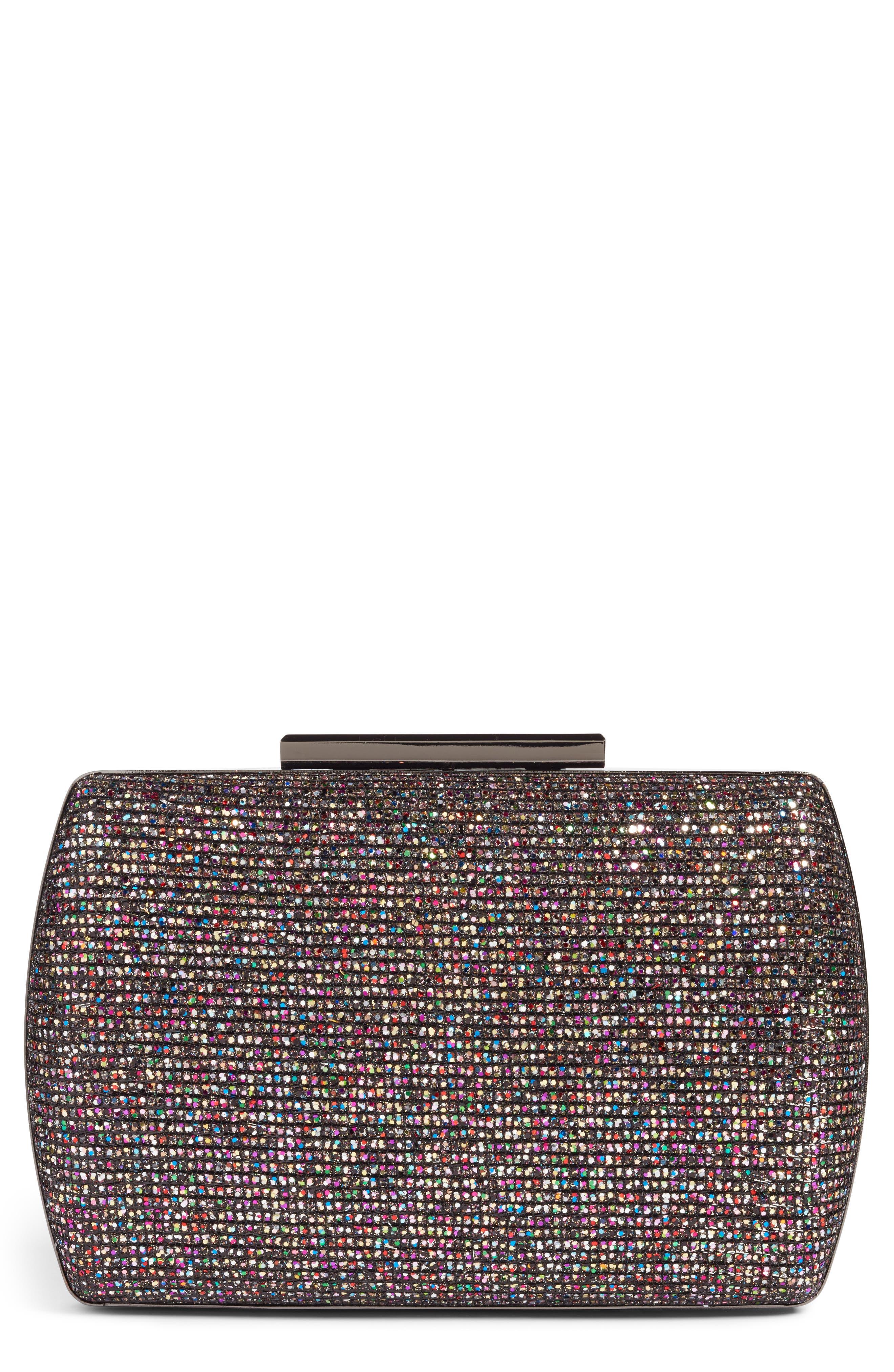 Glitter Minaudière,                         Main,                         color, Black Multi