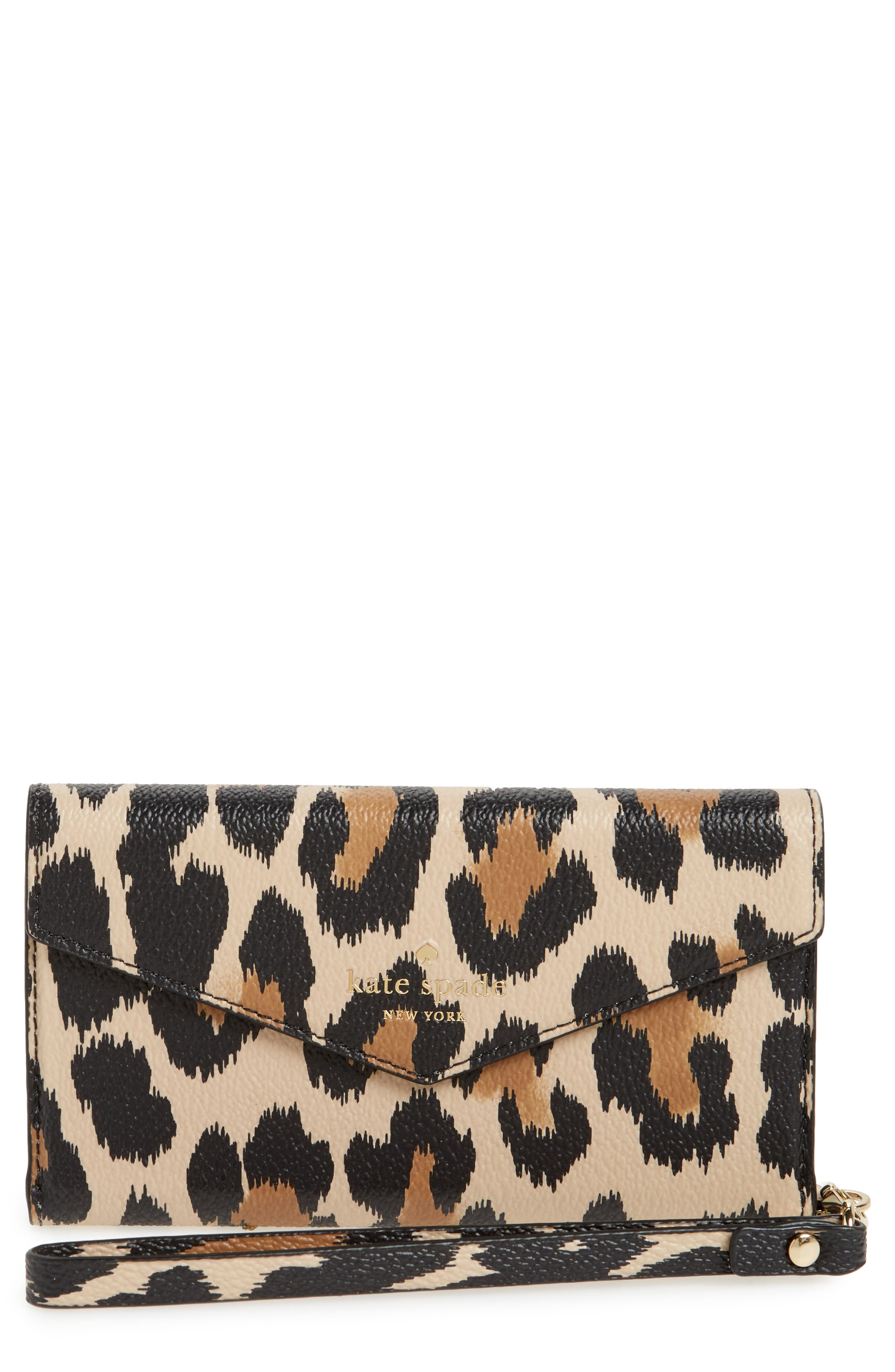kate spade new york leopard print faux leather iPhone wristlet