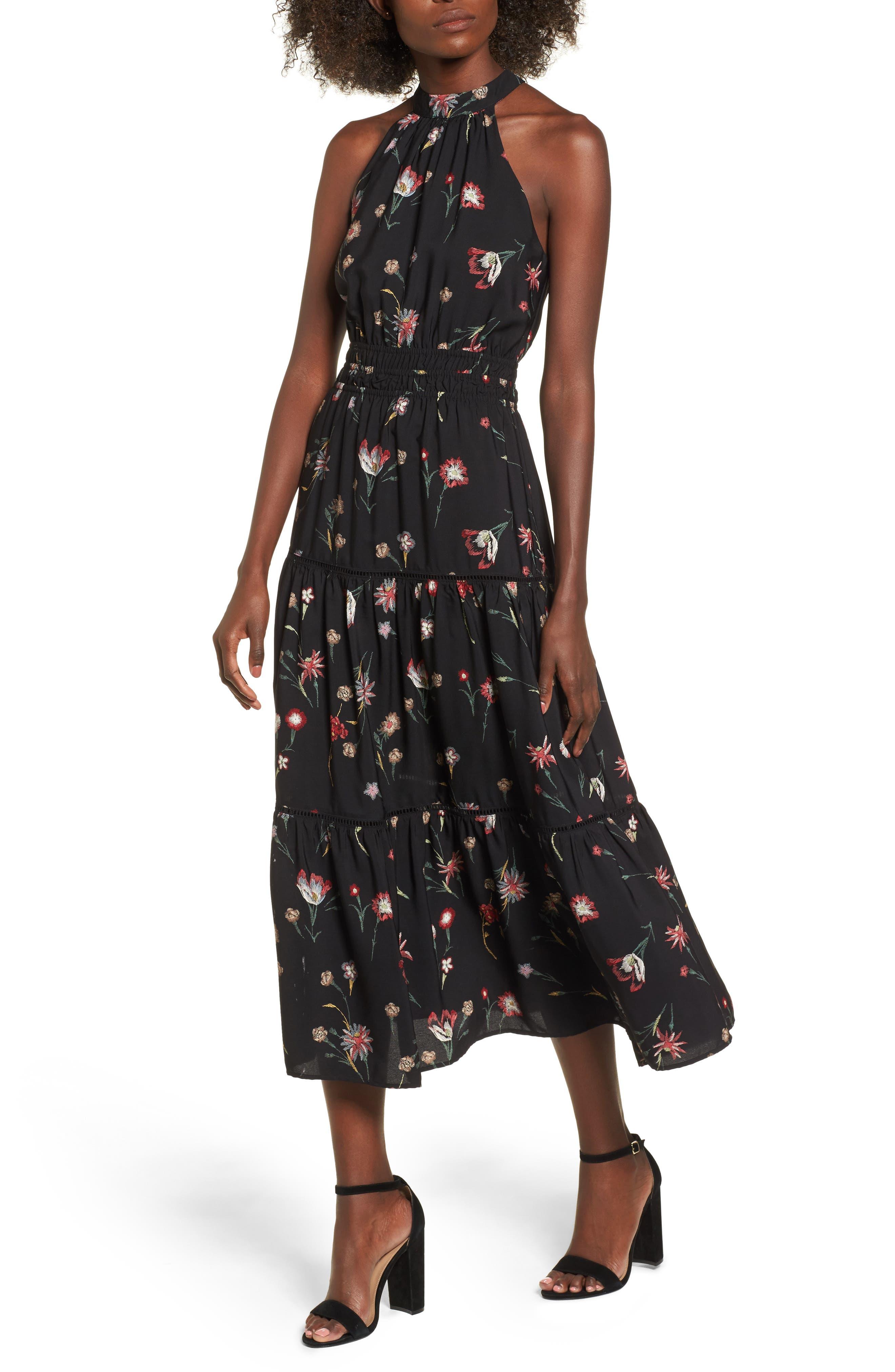 Fleur Halter Midi Dress,                             Main thumbnail 1, color,                             Black Floral