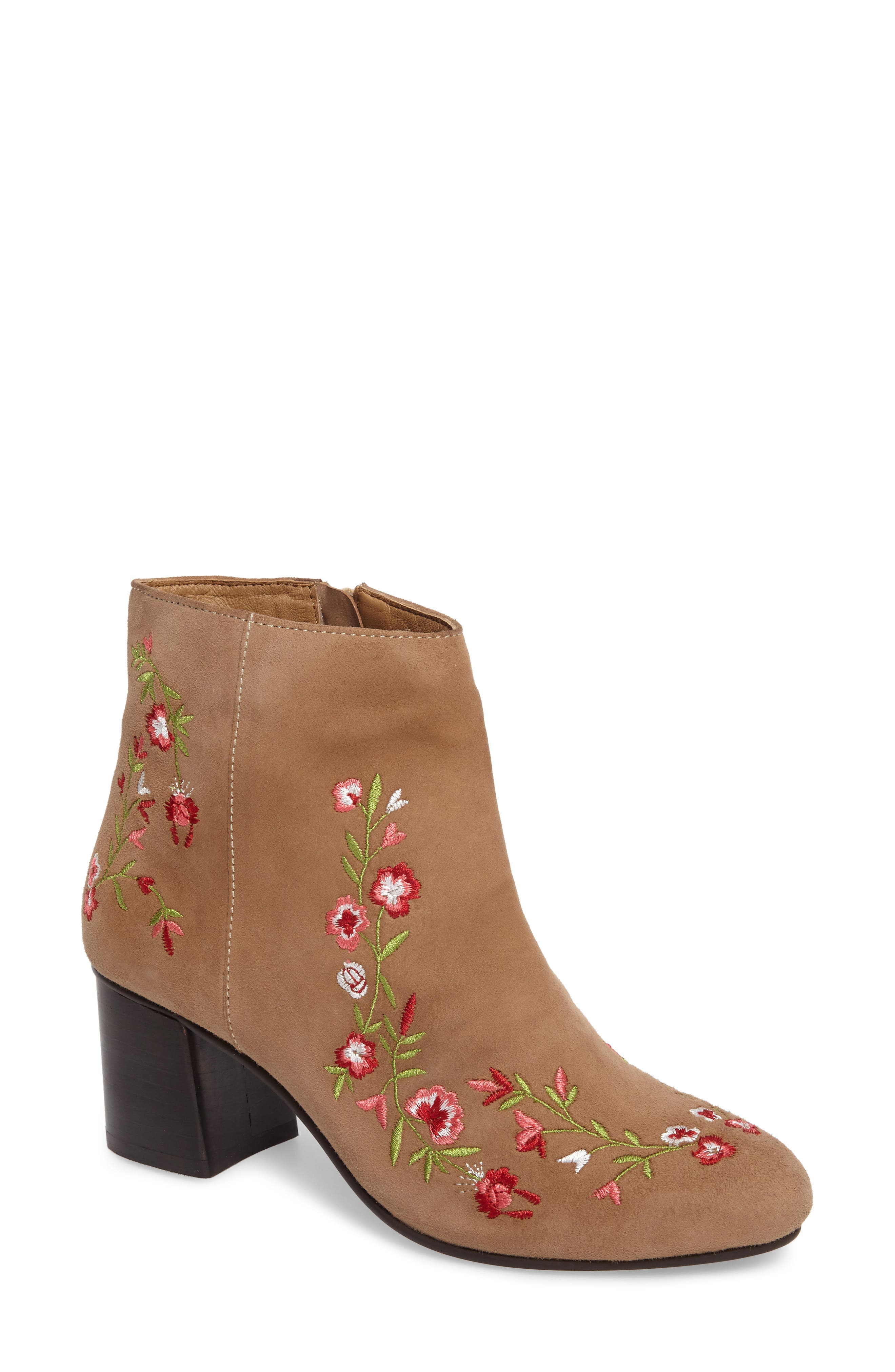 Veronaa Embroidered Bootie,                             Main thumbnail 1, color,                             Tan Suede