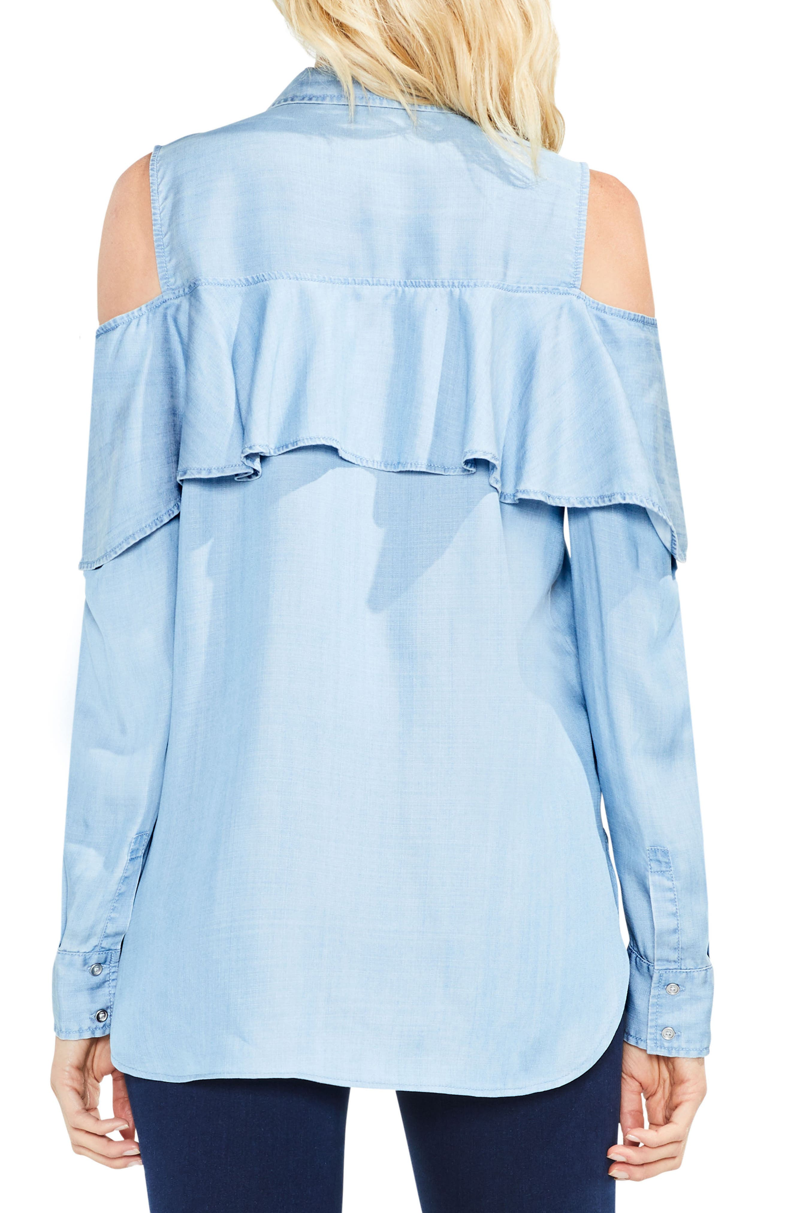 Alternate Image 3  - Two by Vince Camuto Cold Shoulder Ruffled Chambray Shirt