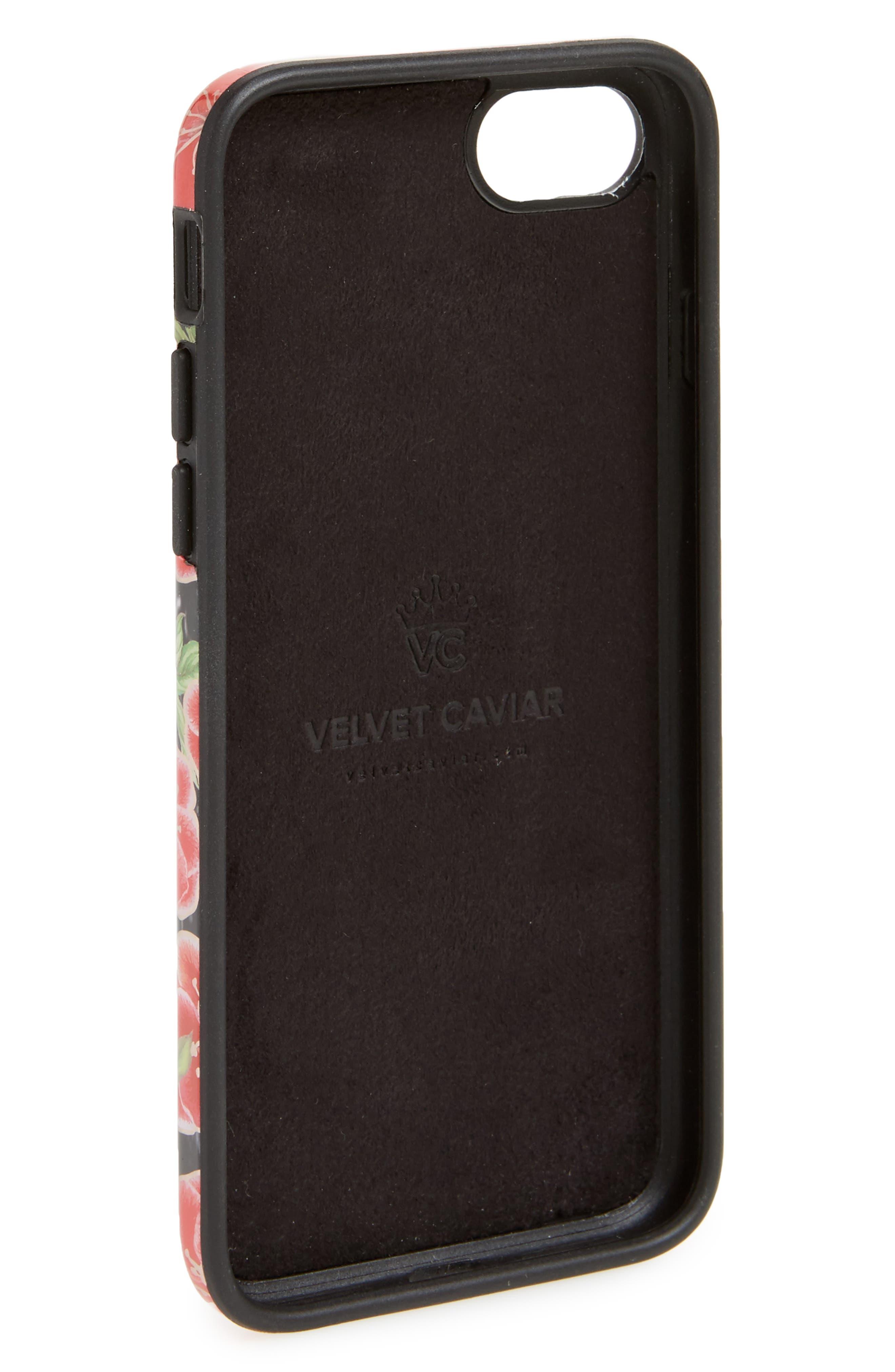 Alternate Image 2  - Velvet Caviar Black Hibiscus Chrome iPhone 7/8 Case