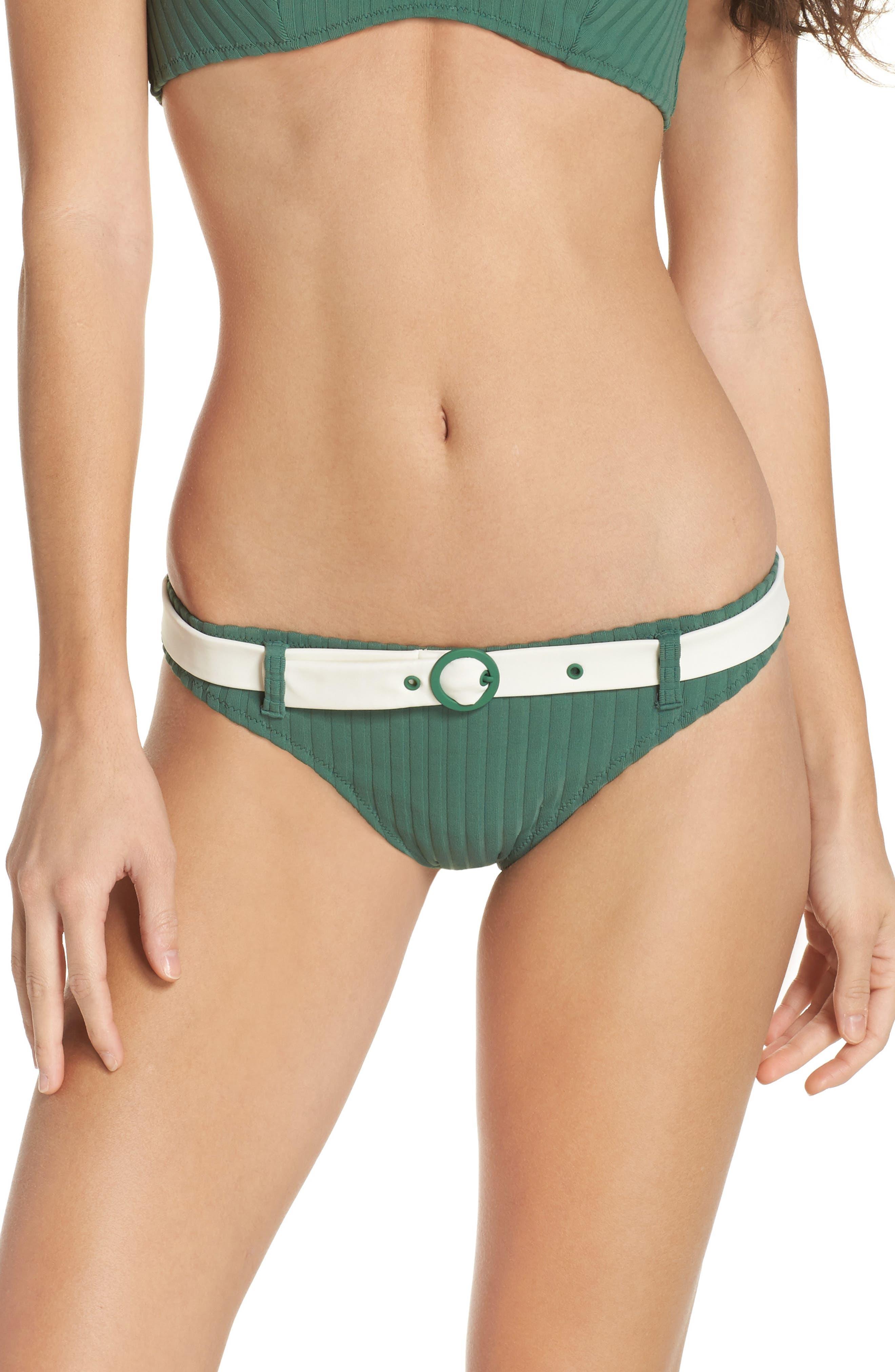 The Rachel Bikini Bottoms,                         Main,                         color, Emerald Rib