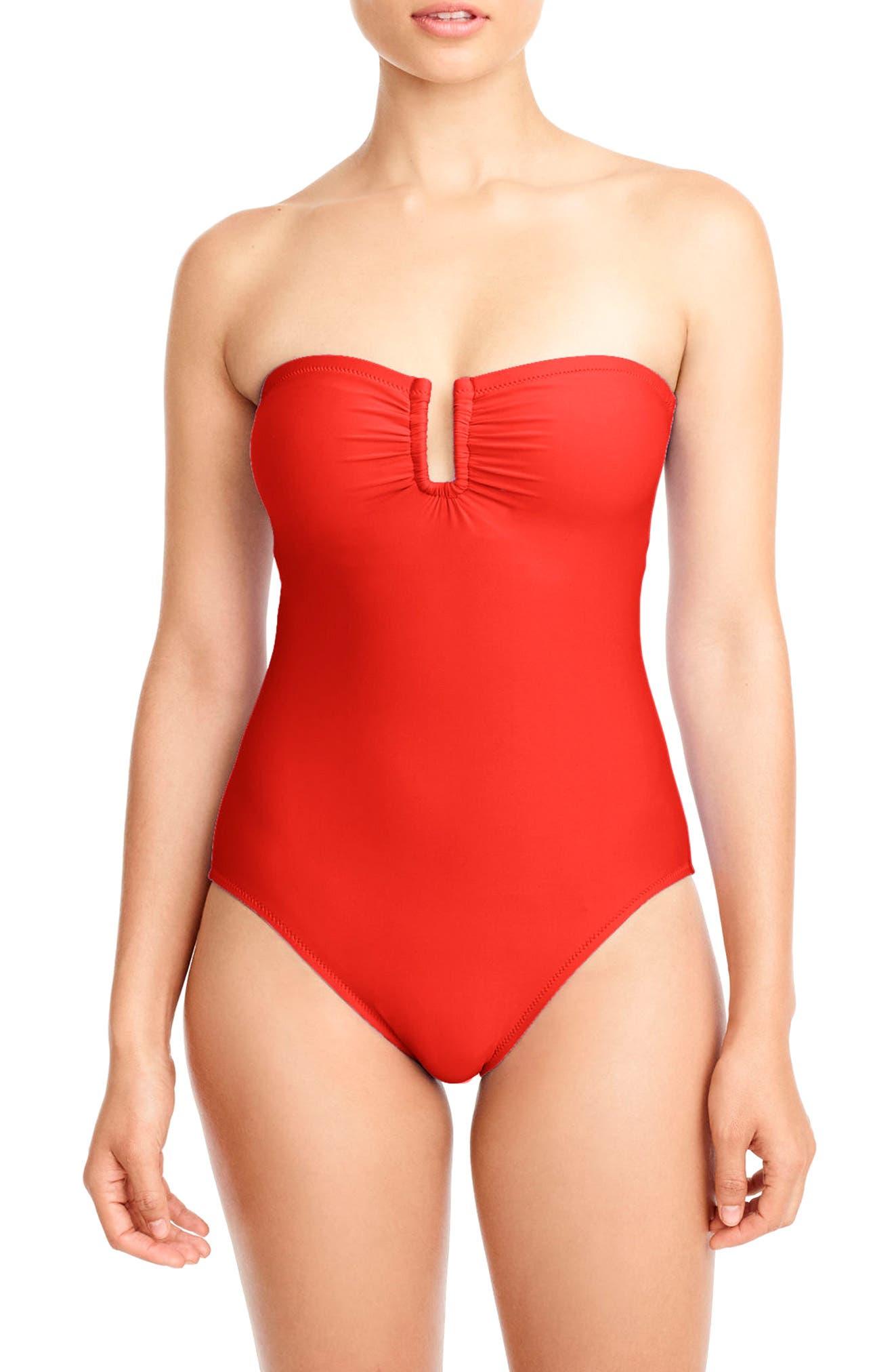 J.Crew U-Front Bandeau One-Piece Swimsuit,                         Main,                         color, Belvedere Red