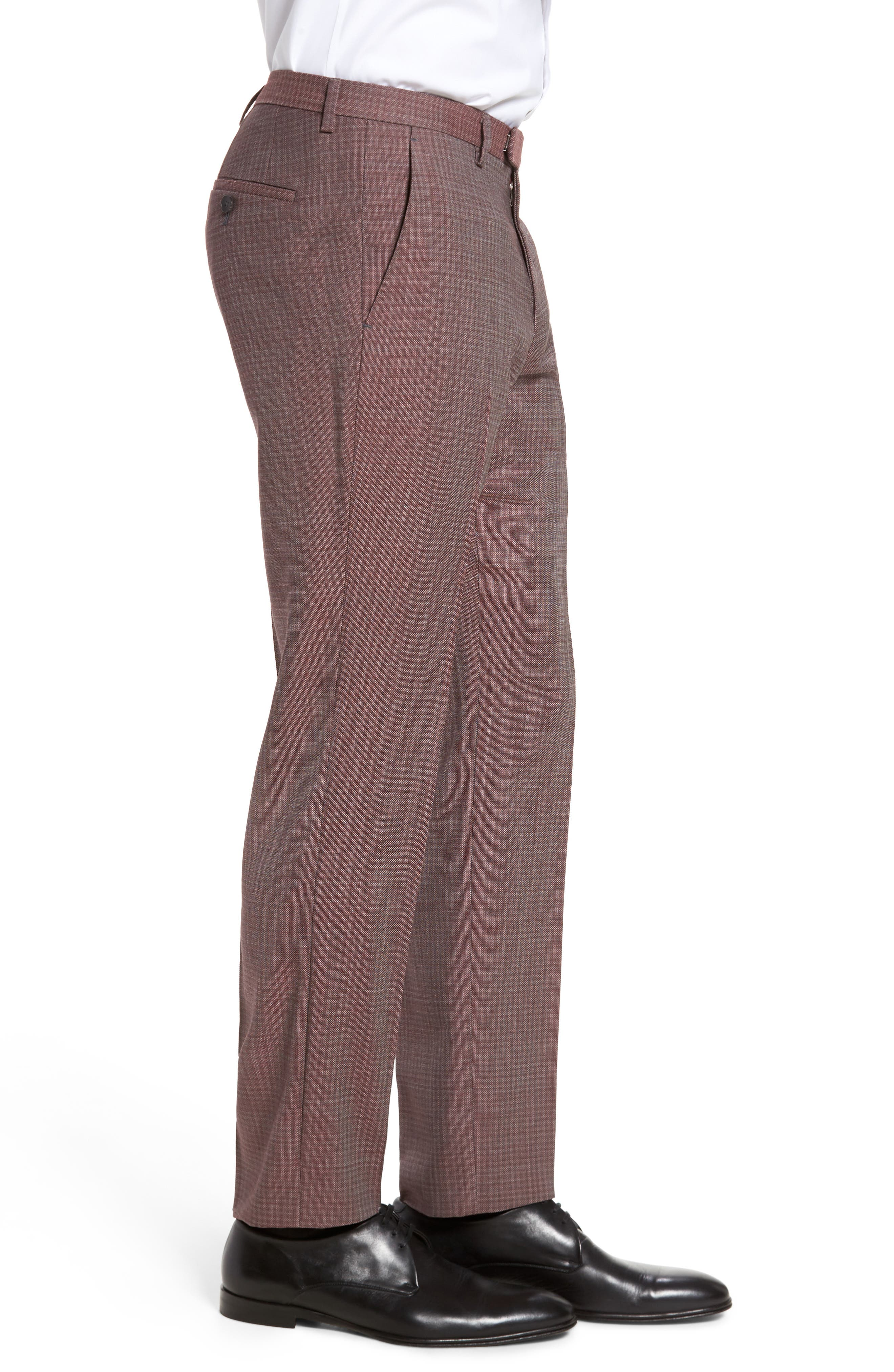 Leenon Flat Front Regular Fit Check Wool Trousers,                             Alternate thumbnail 3, color,                             Medium Red