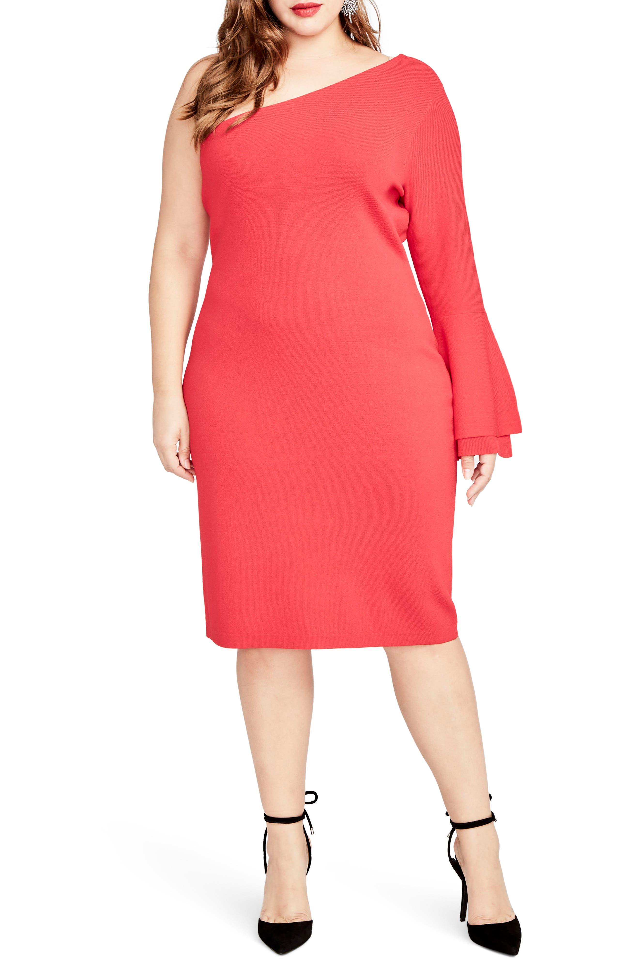 RACHEL Rachel Roy One-Shoulder Knit Sheath Dress (Plus Size)