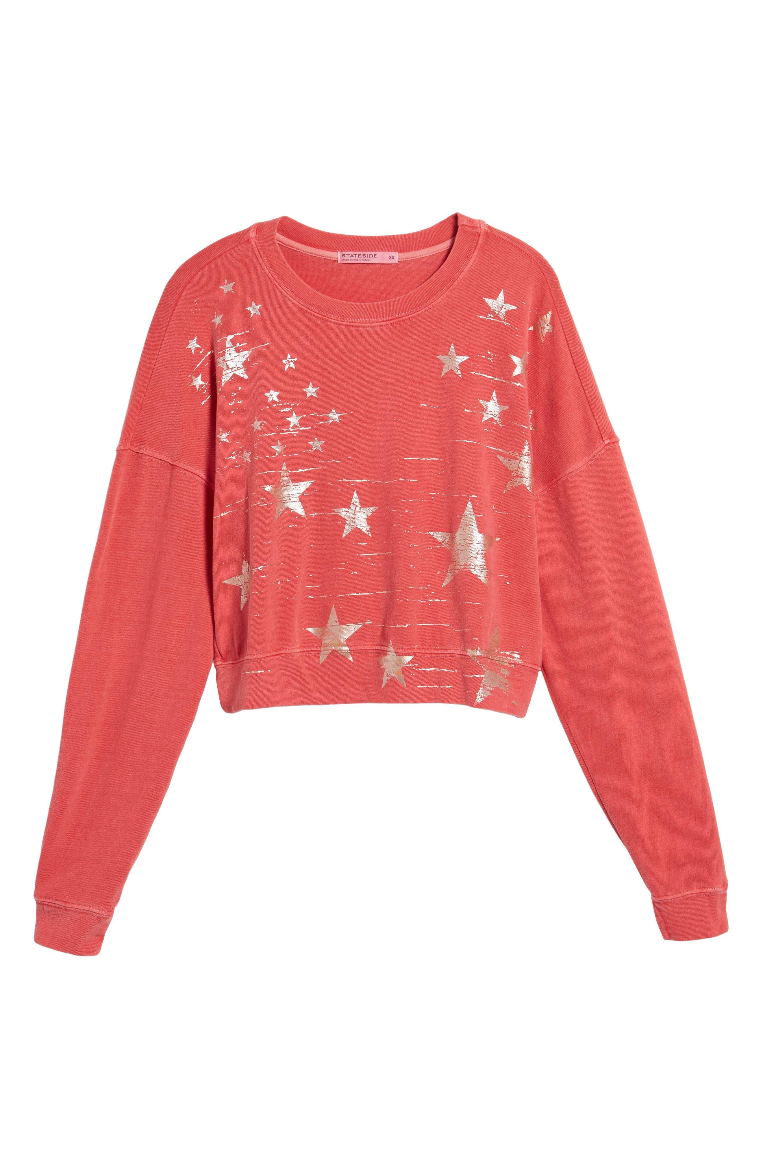 Foil Star Sweatshirt,                             Alternate thumbnail 7, color,                             Scarlet