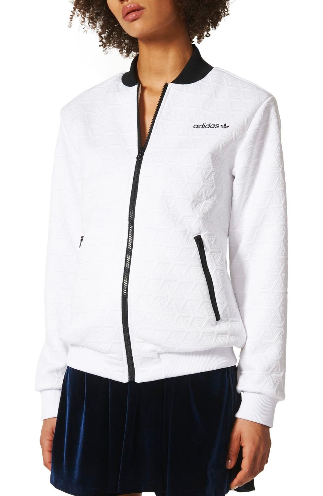 Bomber Track Jacket,                             Main thumbnail 1, color,                             White