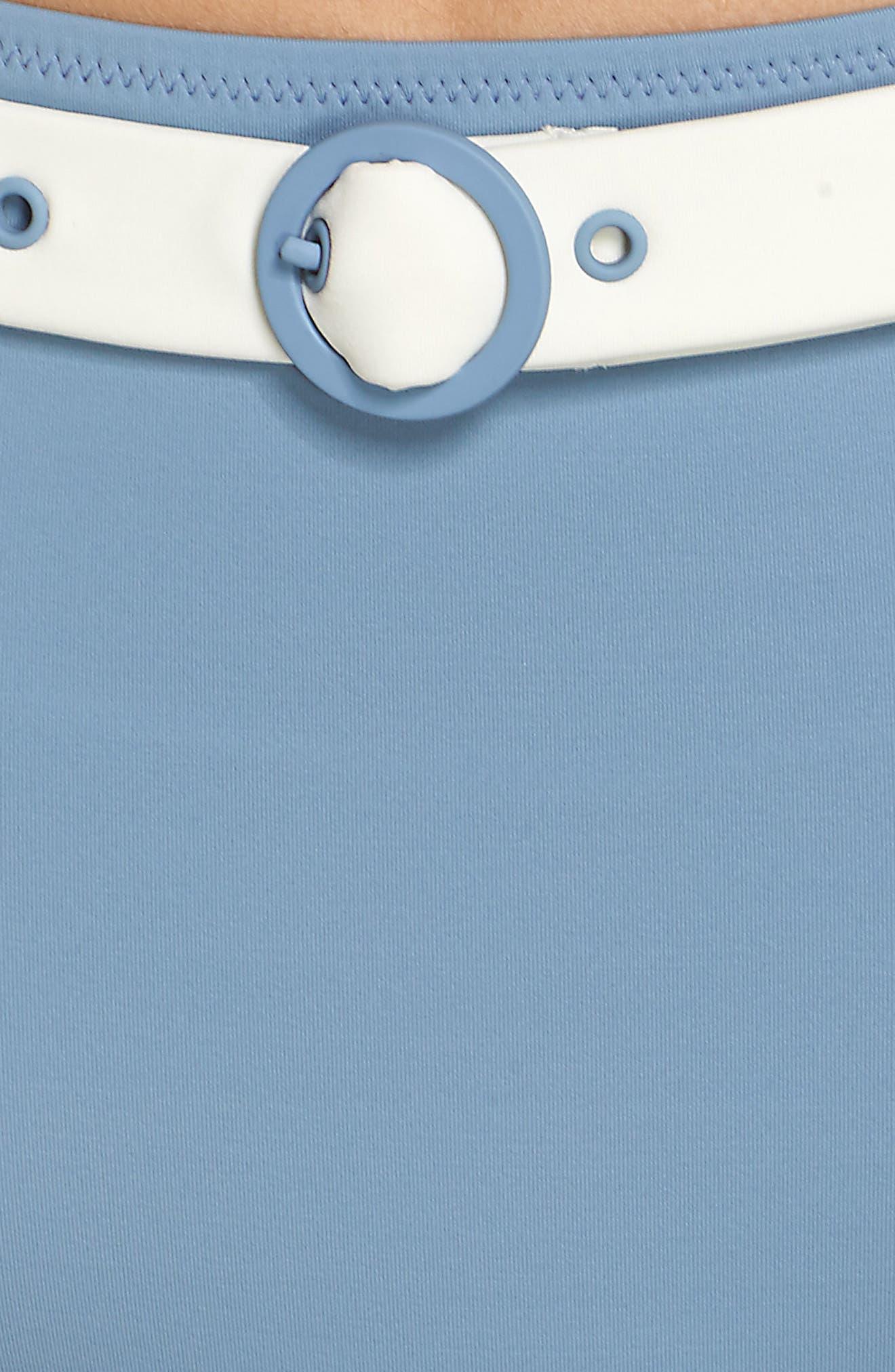 The Quinn Belted High Waist Bikini Bottoms,                             Alternate thumbnail 5, color,                             Ice