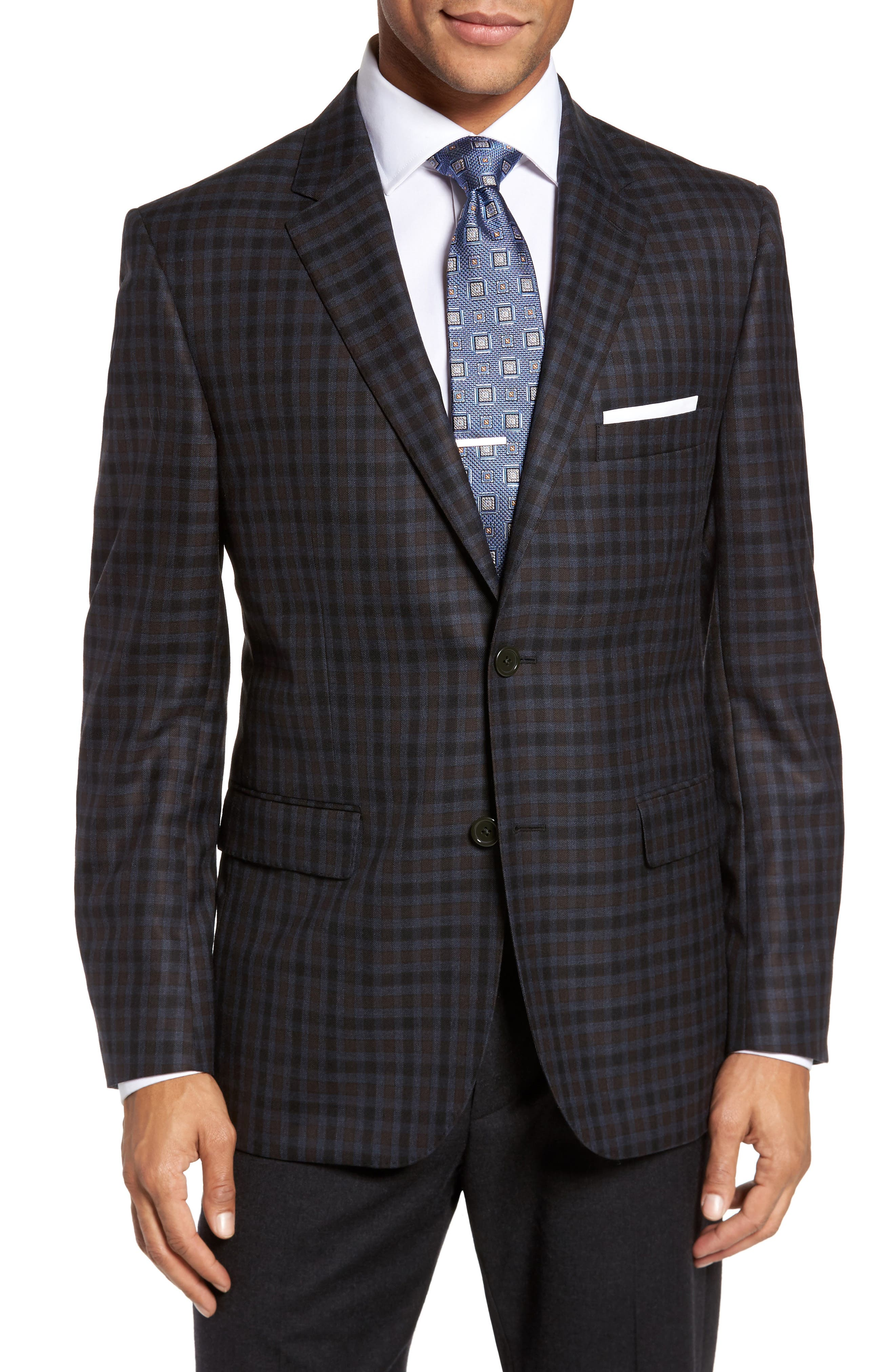 JB Britches Classic Fit Plaid Wool Sport Coat