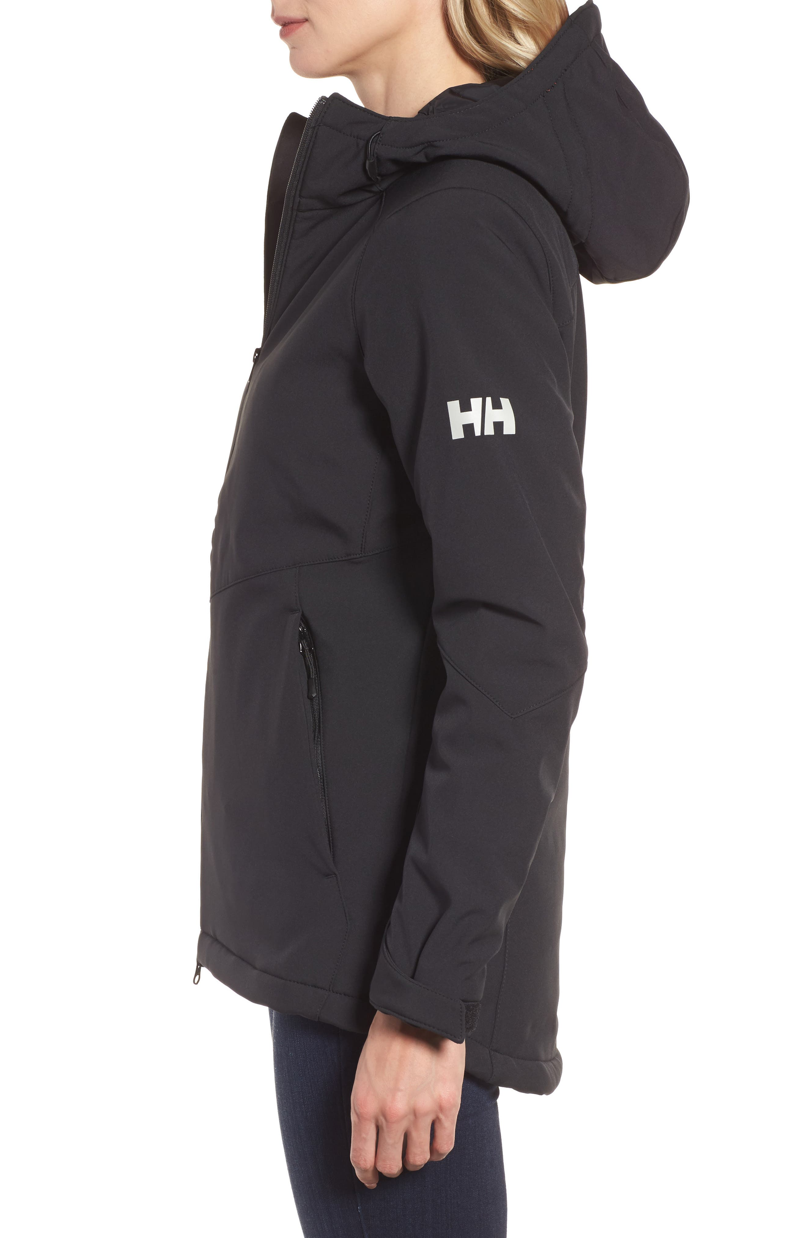 Lofn Hooded Insulated Soft Shell Jacket,                             Alternate thumbnail 3, color,                             Black