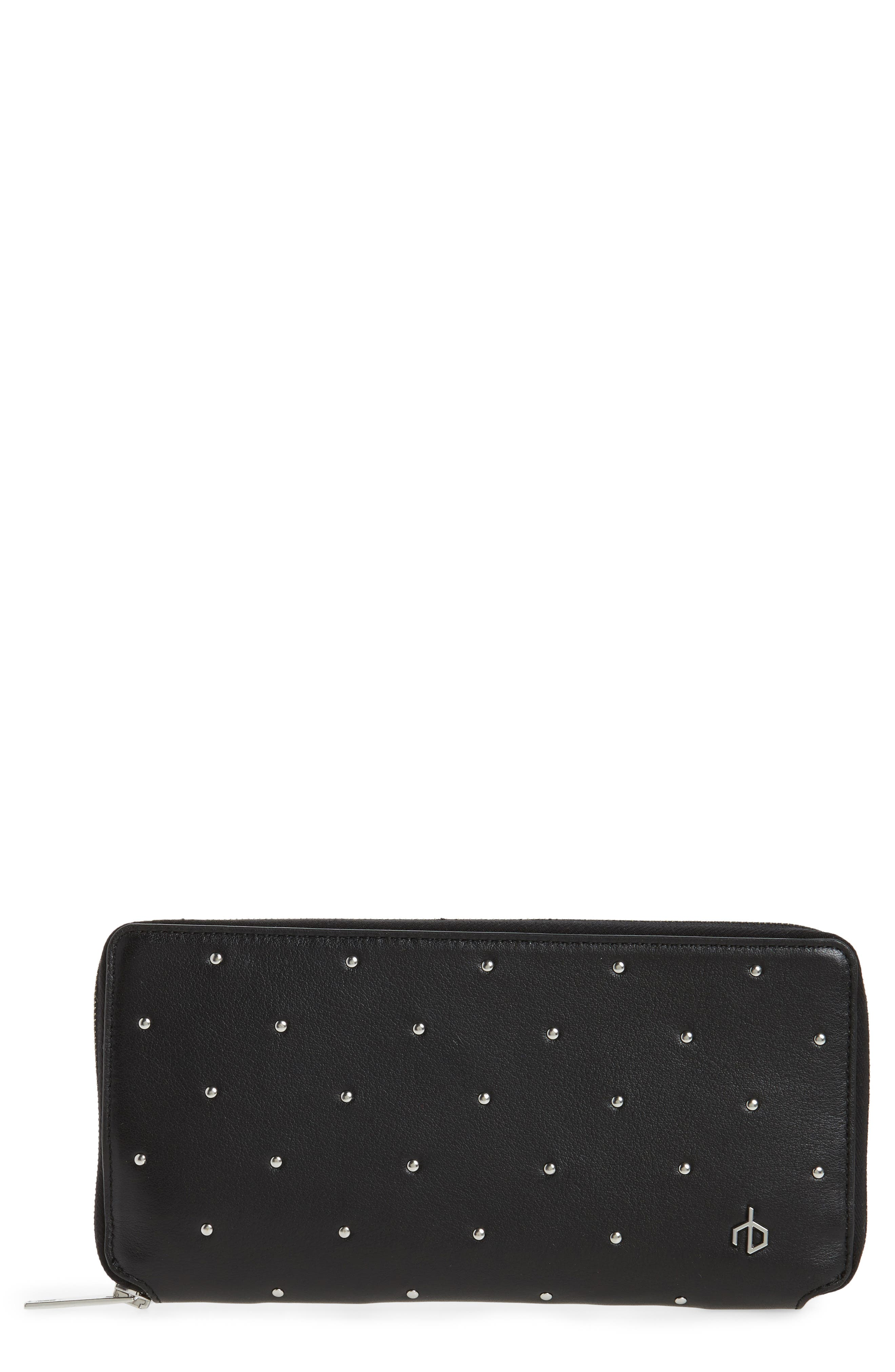 Studded Calfskin Leather Zip-Around Wallet,                         Main,                         color, Black Studs
