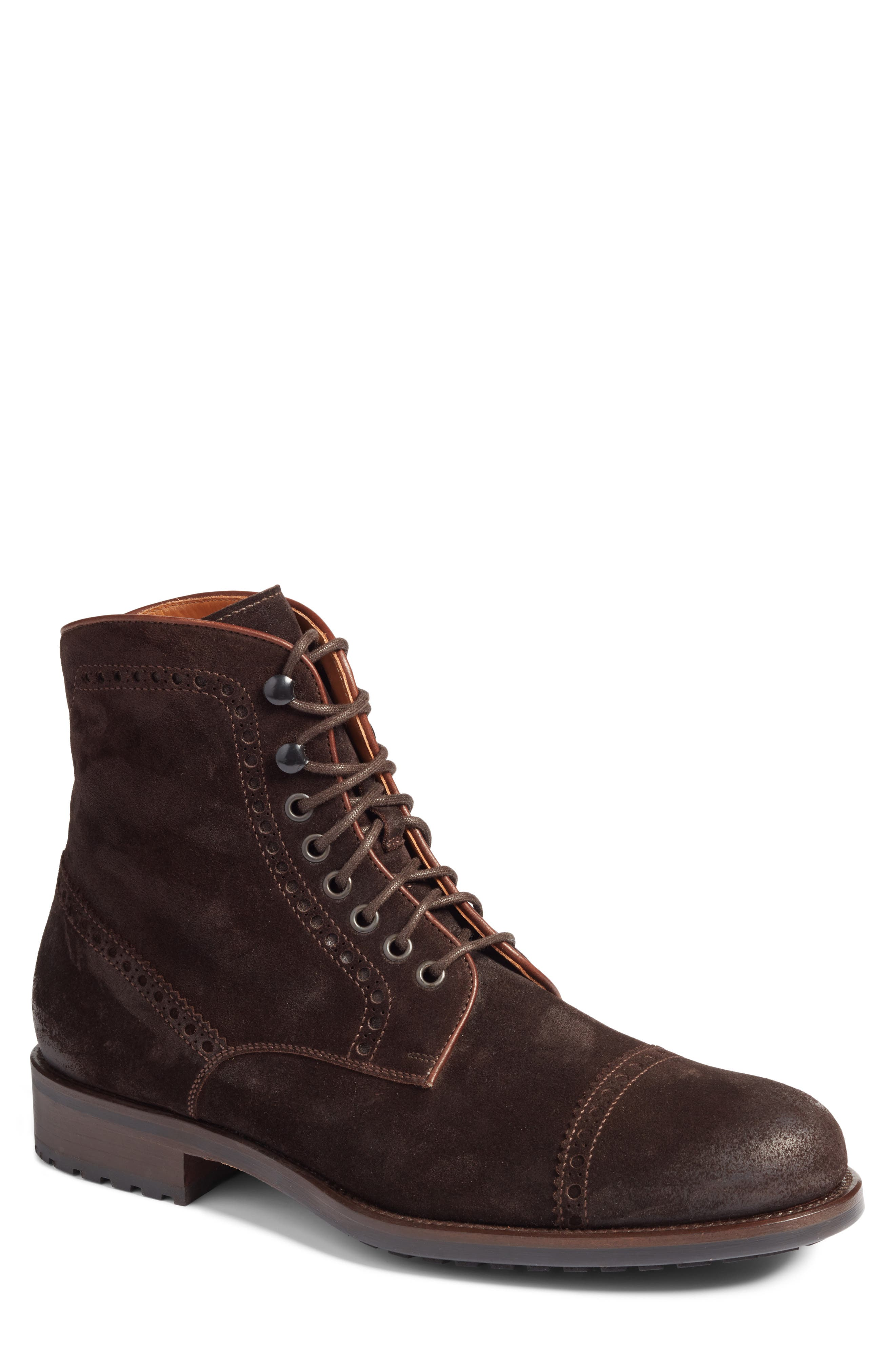 Palmer Cap Toe Boot,                             Main thumbnail 1, color,                             Brown Suede