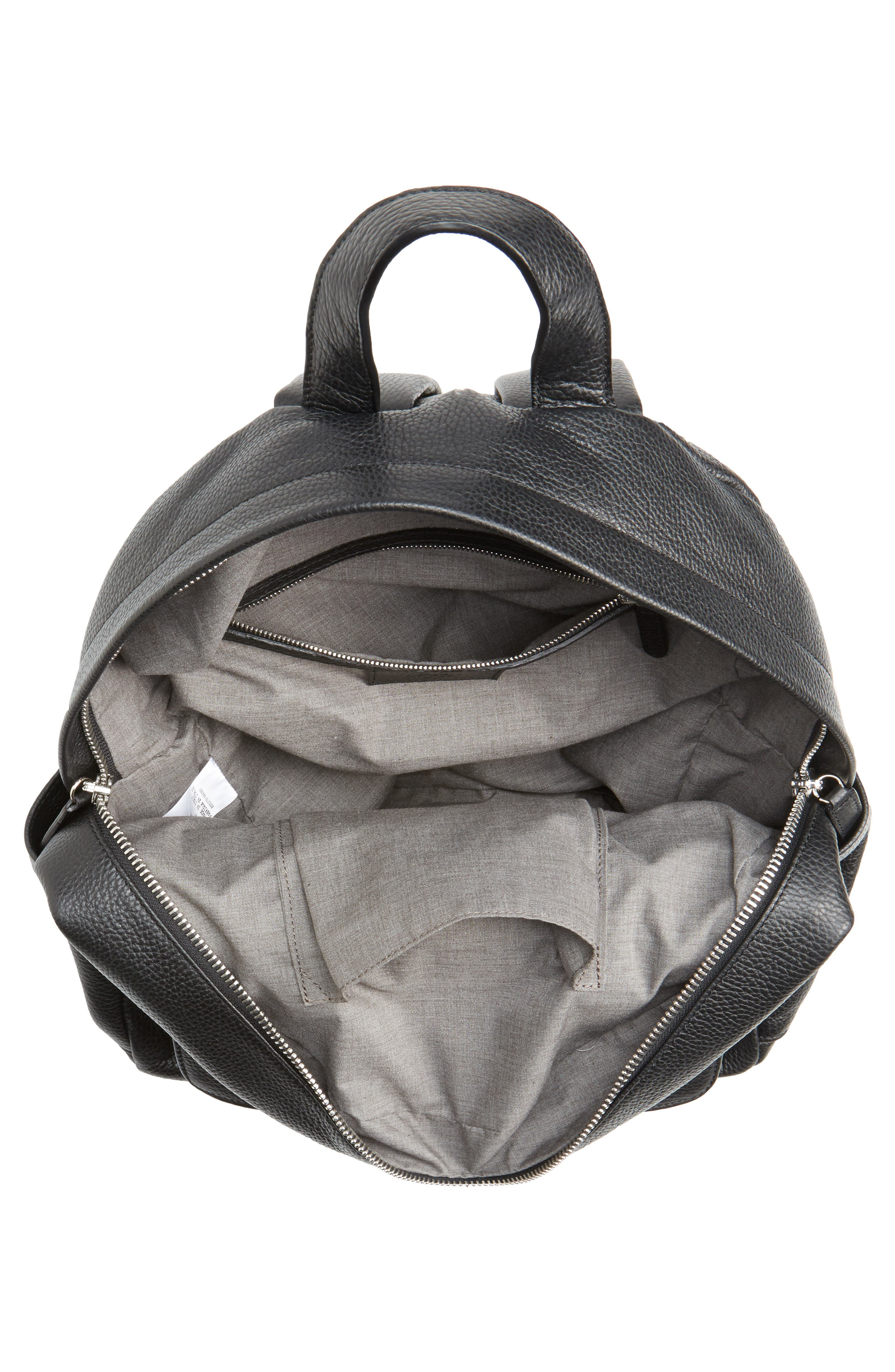 Leather Backpack,                             Alternate thumbnail 4, color,                             Black