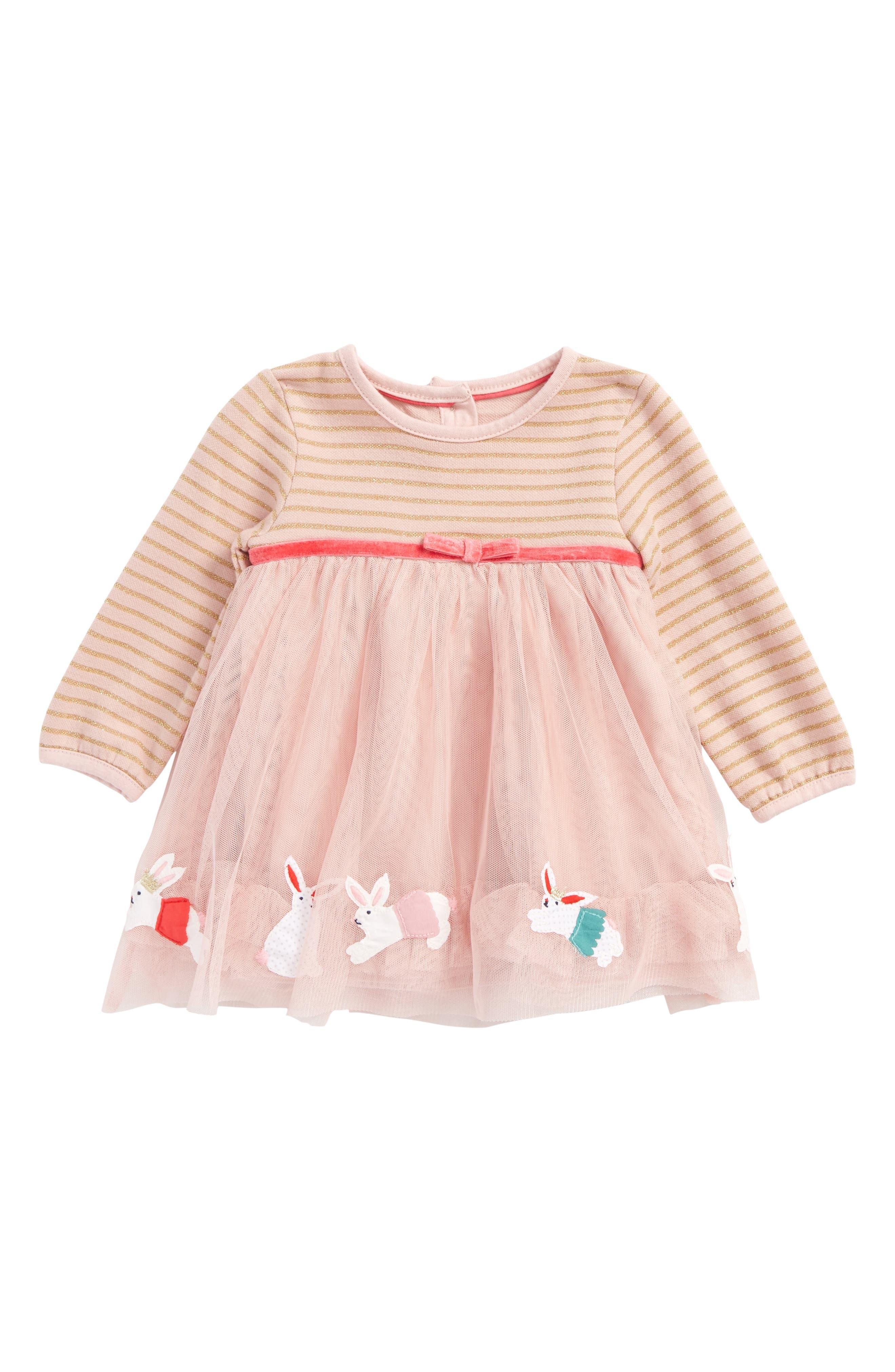 Appliqué Mixed Media Dress,                         Main,                         color, Milkshake Pink Bunnies