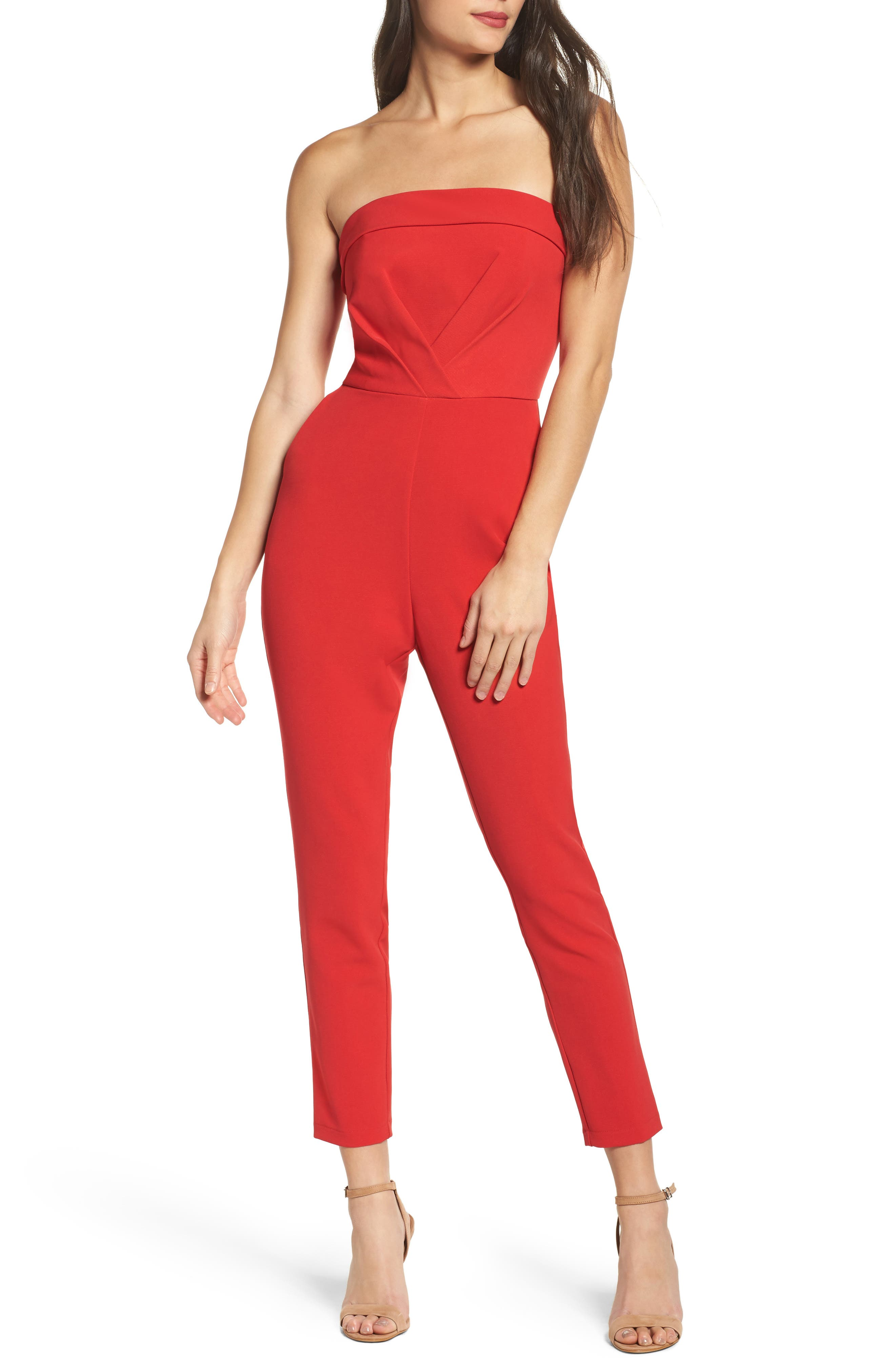 Malia Strapless Jumpsuit,                         Main,                         color, Red