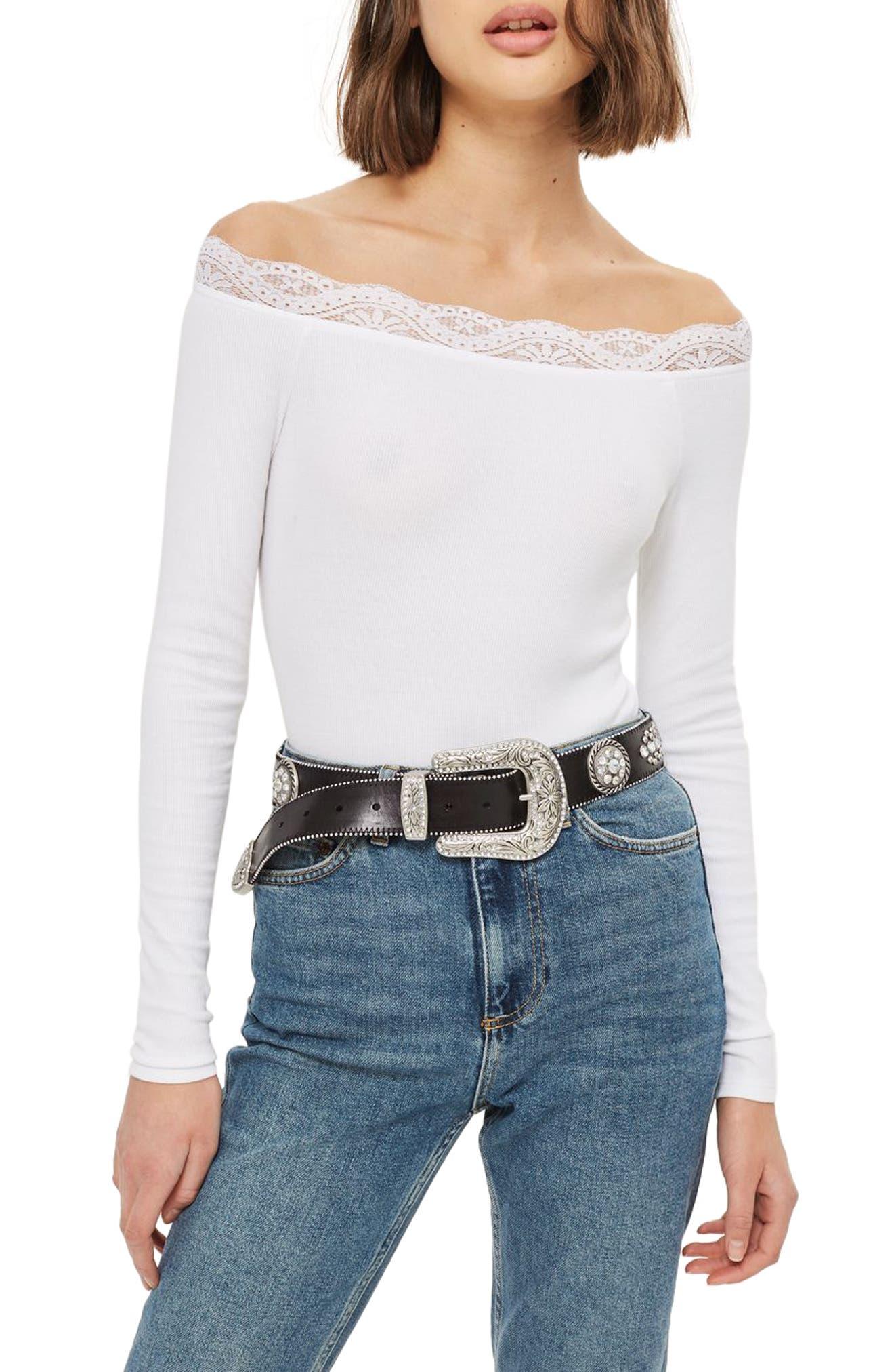 Main Image - Topshop Lace Trim Off the Shoulder Bodysuit