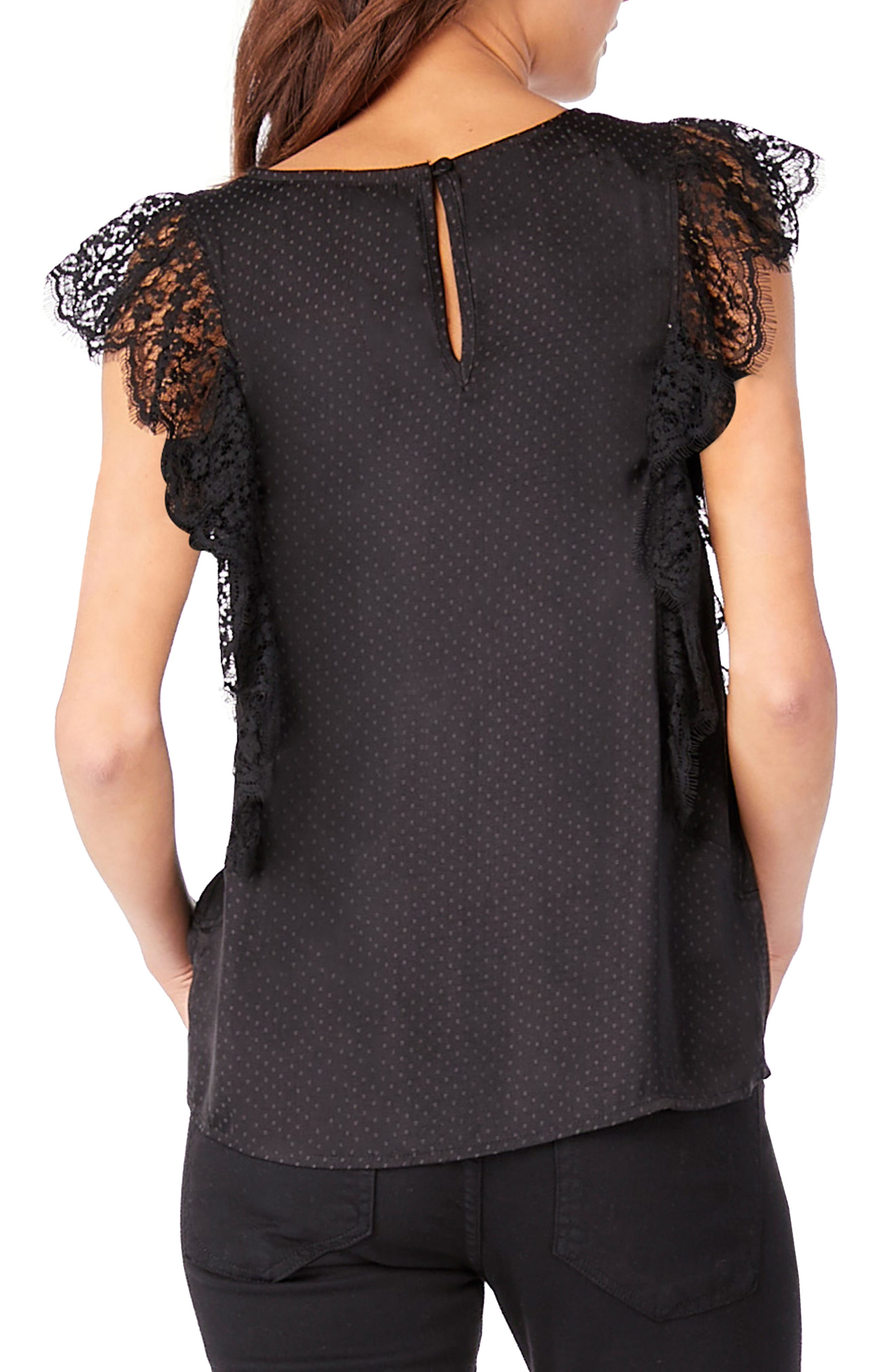 Lace Ruffle Top,                             Alternate thumbnail 2, color,                             Black