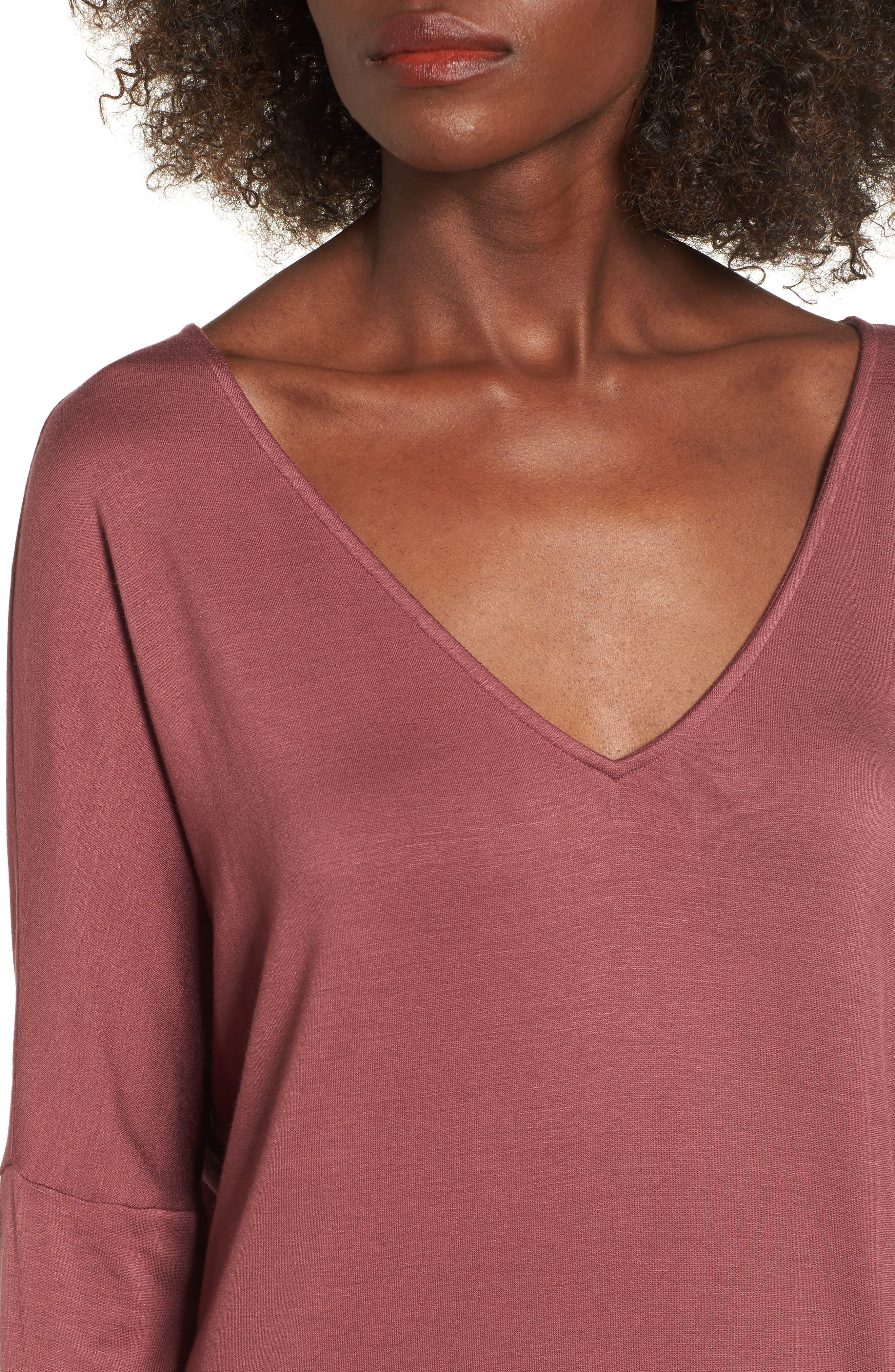 V-Neck Dress,                             Alternate thumbnail 4, color,                             Burgundy Ginger