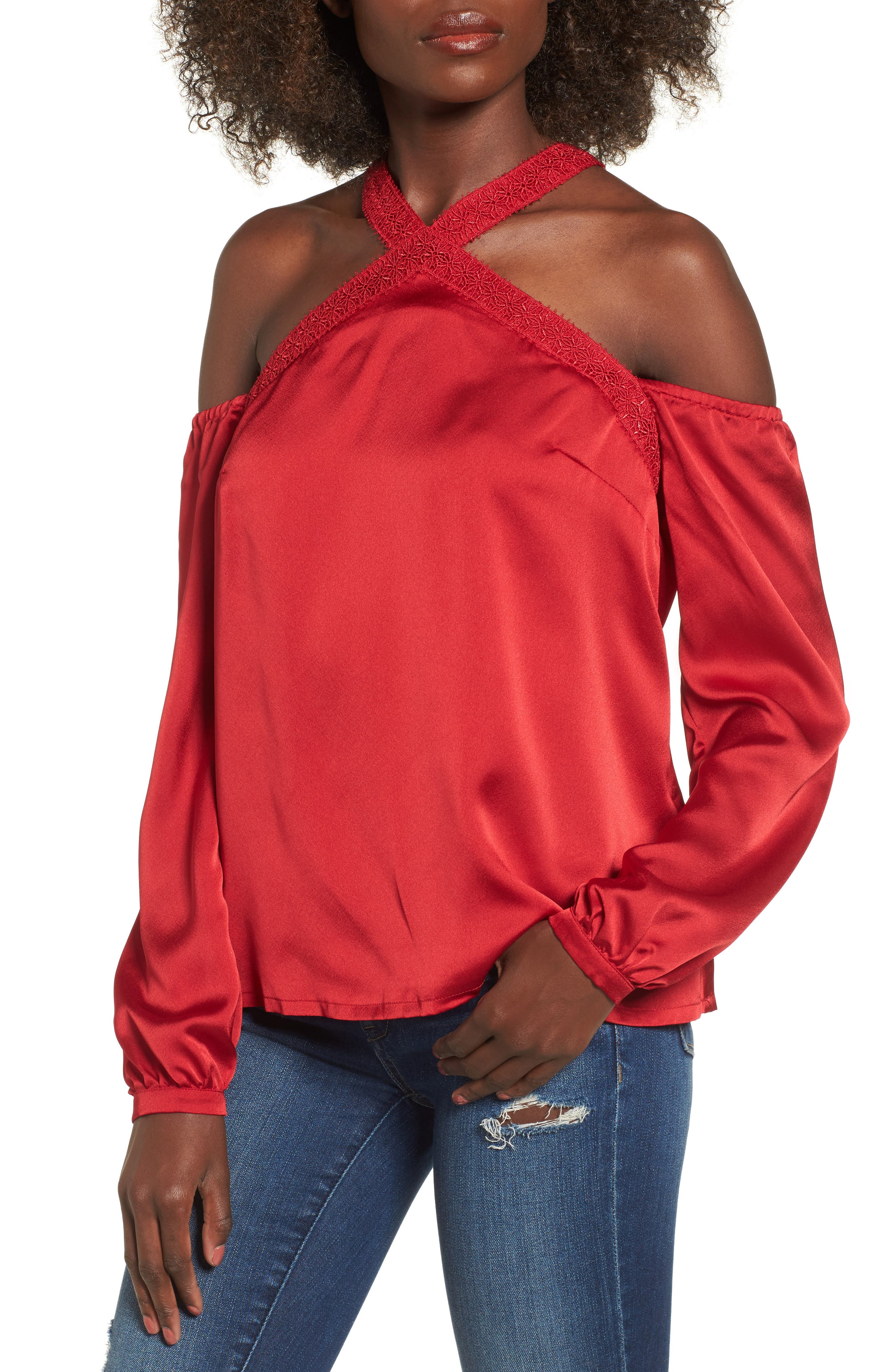 Evening Sun Cold Shoulder Blouse,                             Main thumbnail 1, color,                             Red